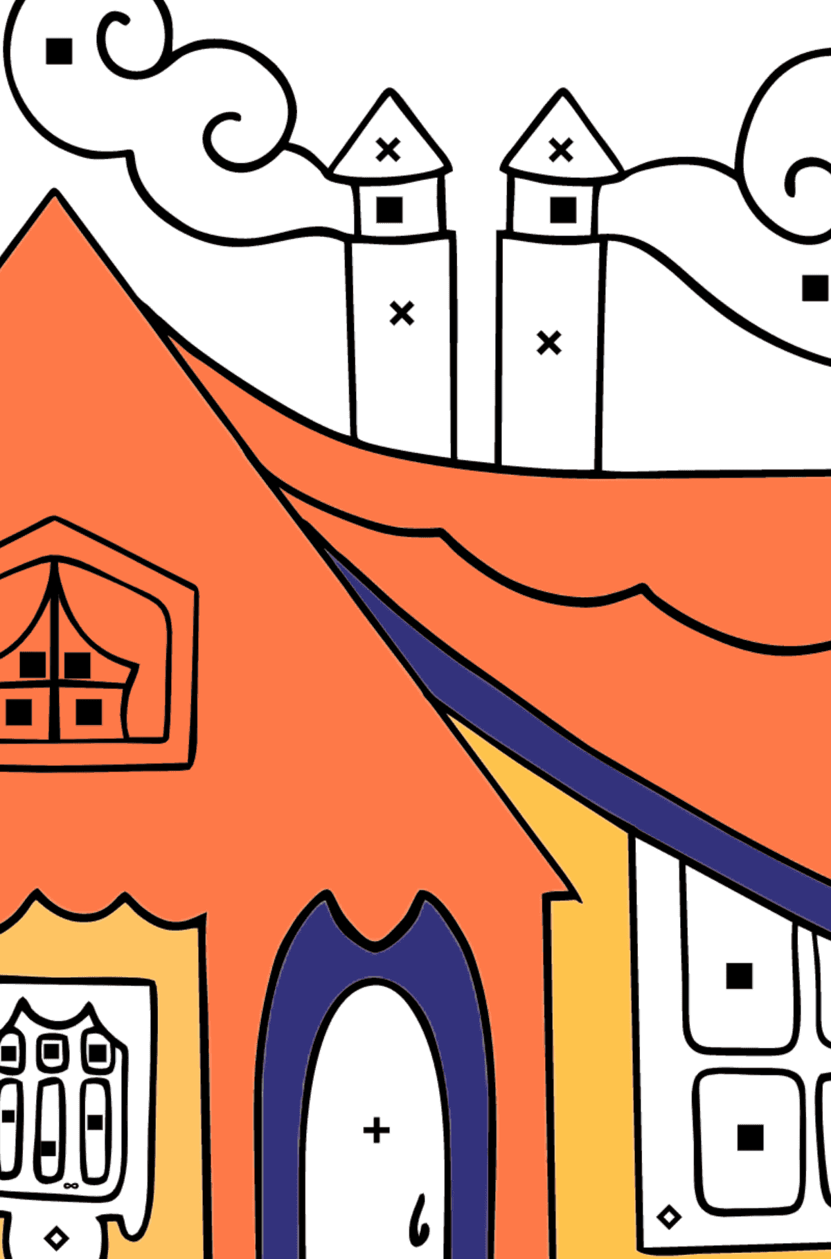 Simple Coloring Page - A Tiny House for Kids  - Color by Special Symbols