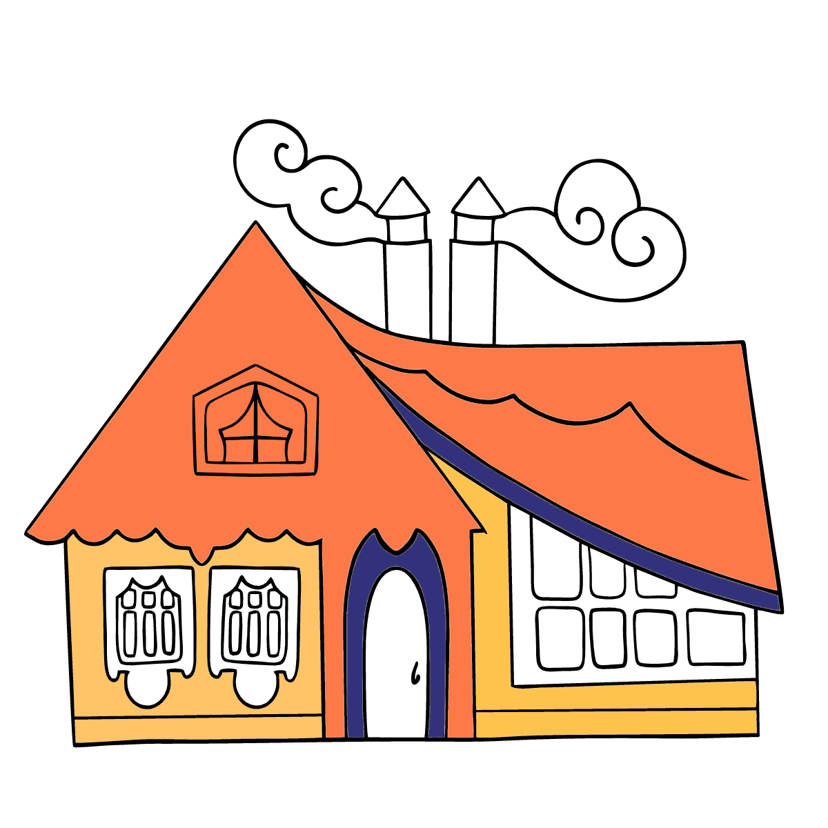Simple Coloring Page - A Tiny House