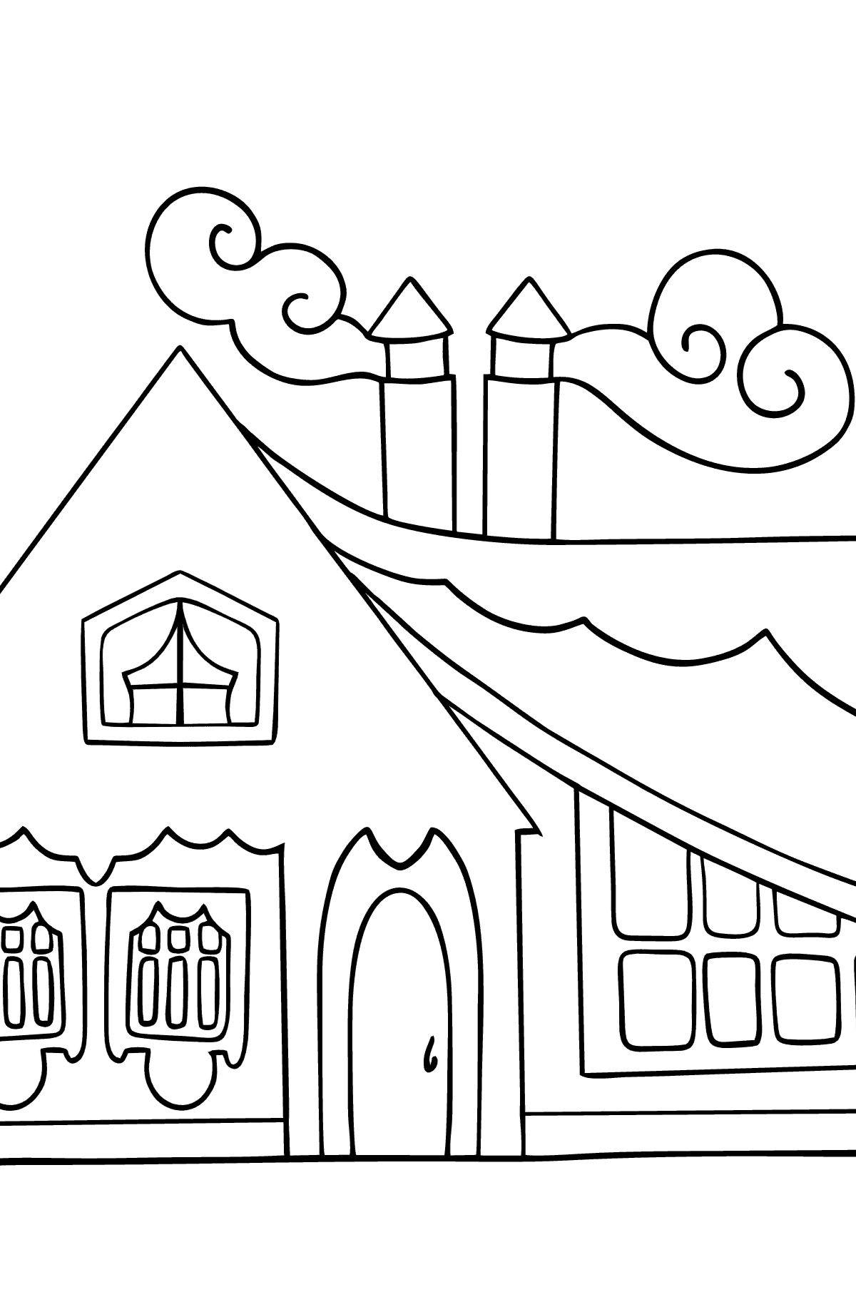 Simple Coloring Page - A Tiny House for Kids