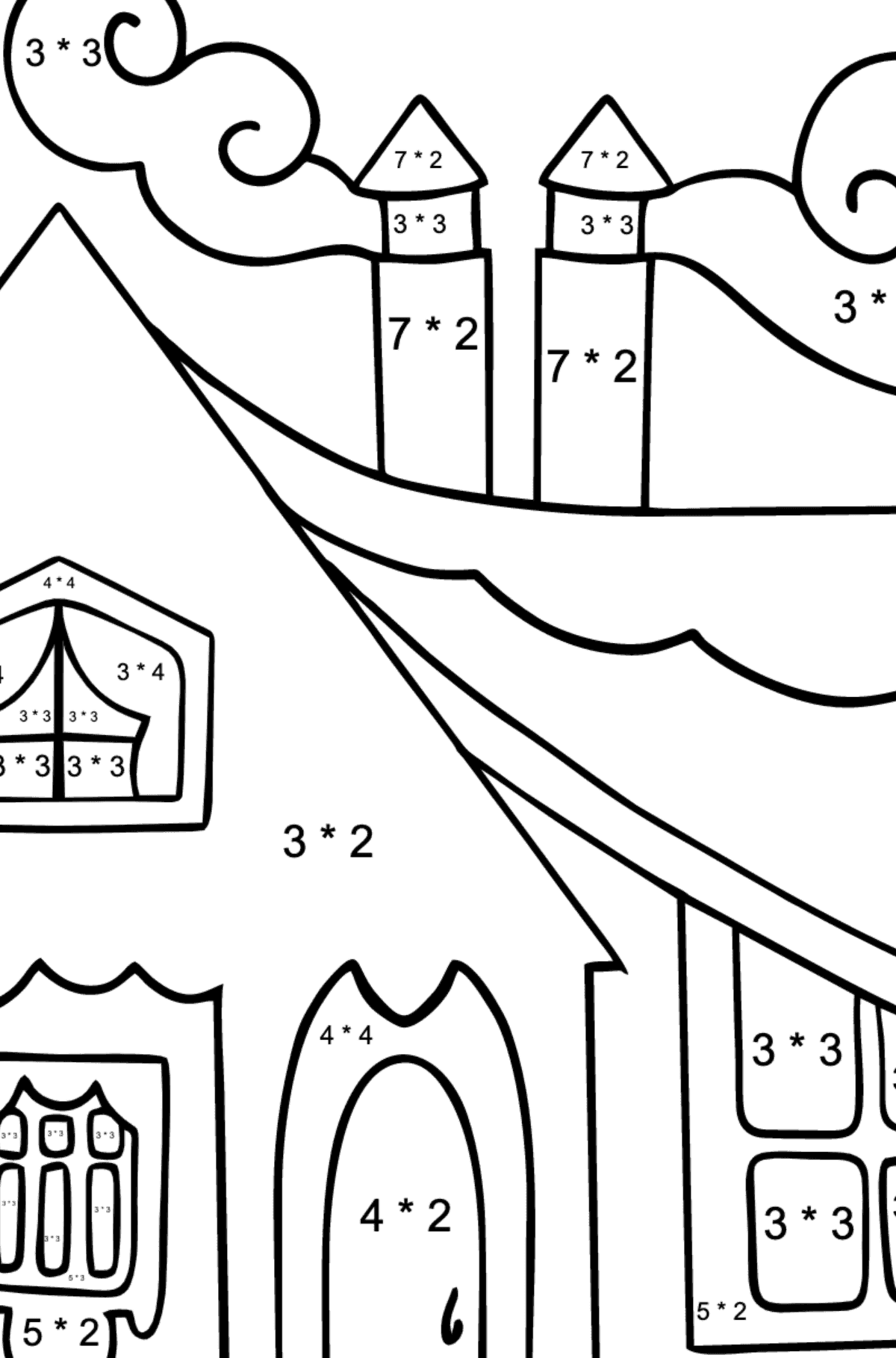 Simple Coloring Page - A Tiny House for Kids  - Color by Number Multiplication