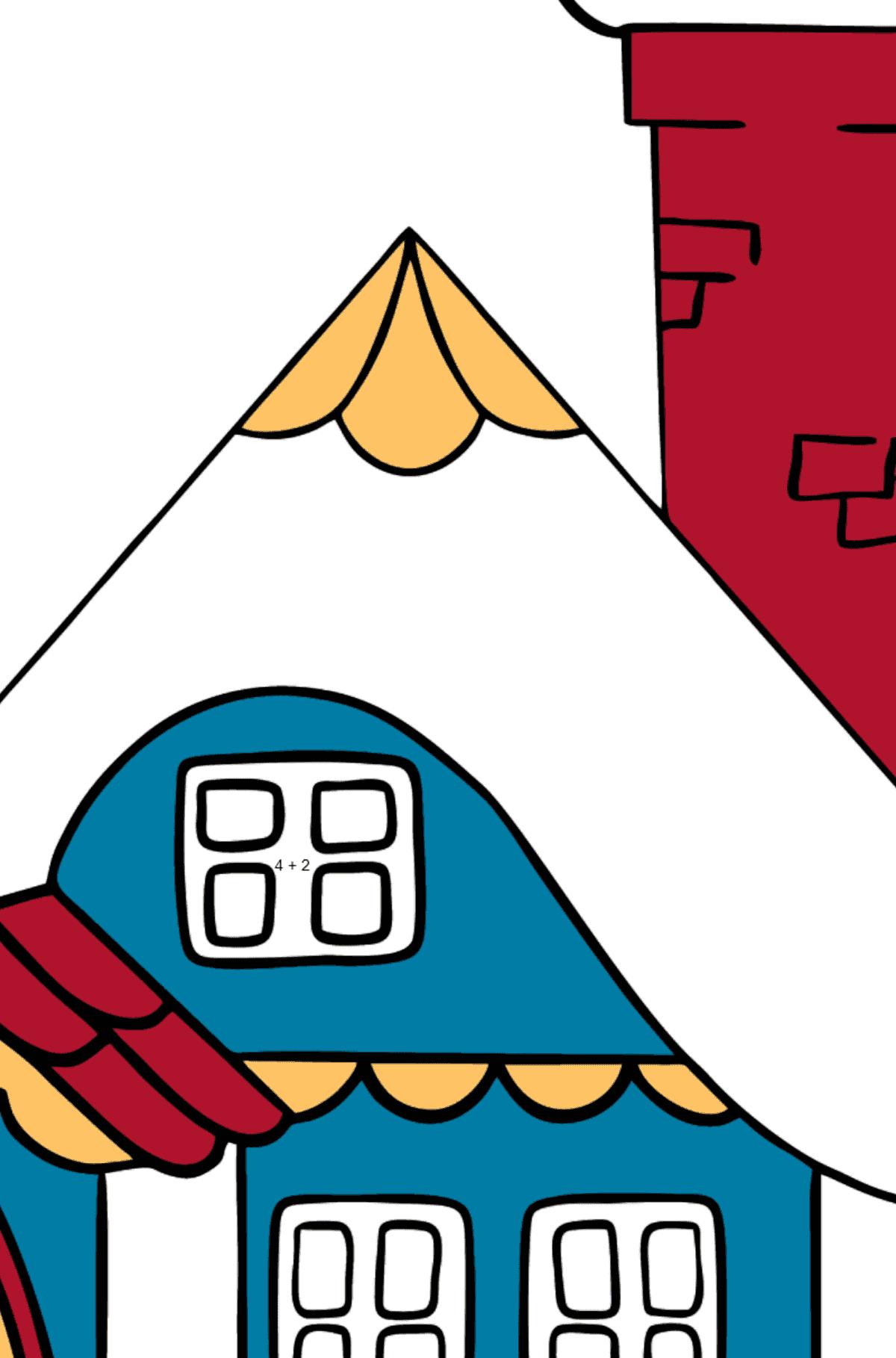Простая раскраска домик дивный - Математическая Раскраска - Сложение для Детей