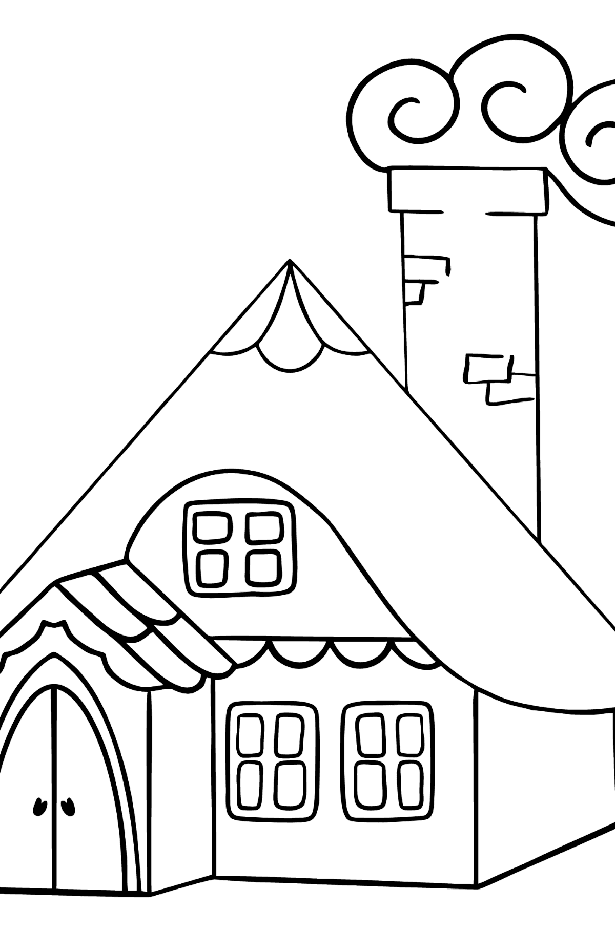 Simple Coloring Page - A Wonderful House - Coloring Pages for Kids