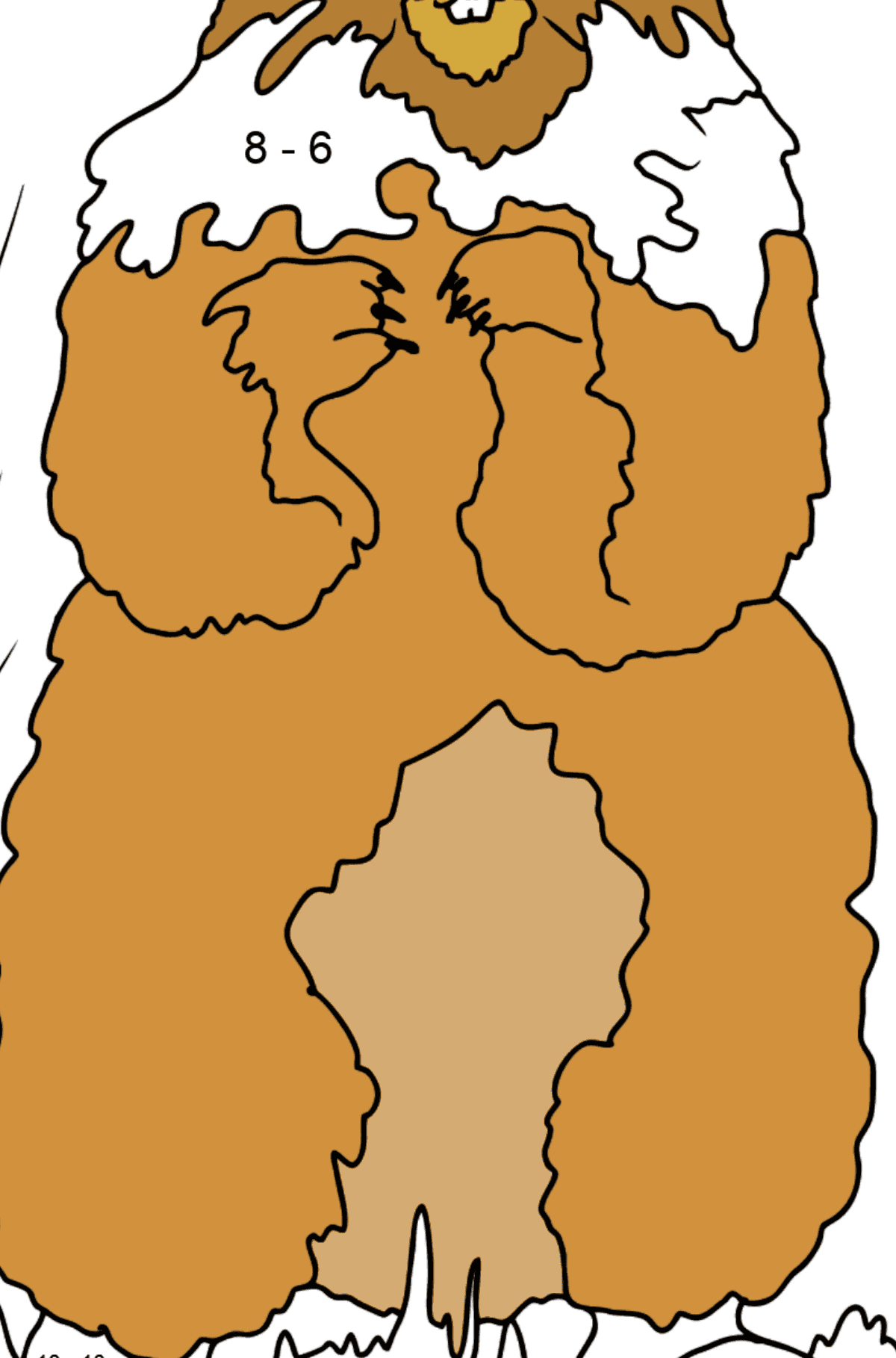 Coloring Page - A Groundhog is Looking Around - Math Coloring - Subtraction for Kids