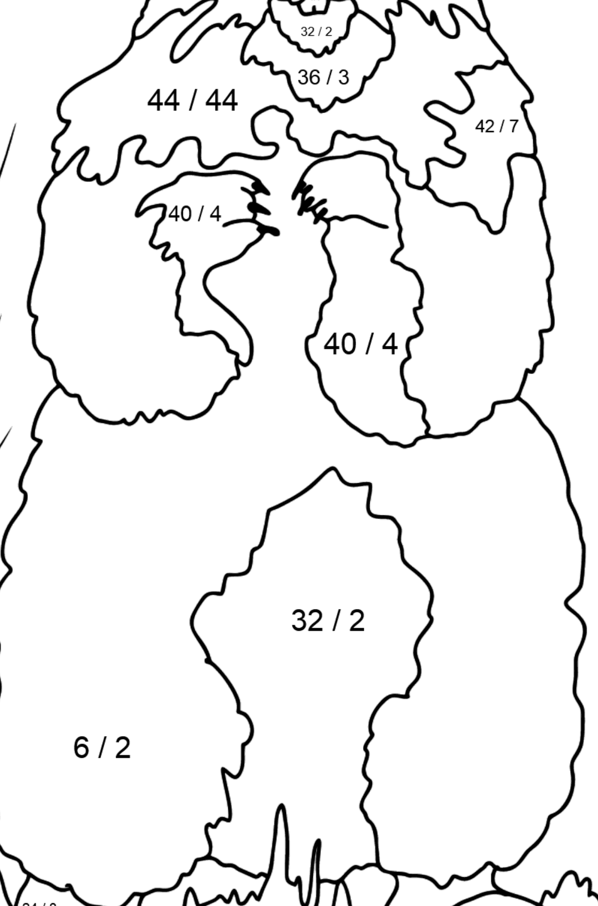 Coloring Page - A Groundhog is Looking out of Its Burrow - Math Coloring - Division for Kids