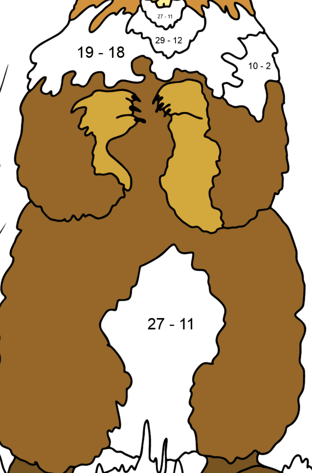 Coloring Page - A Groundhog is Looking out of Its Burrow - Math Coloring - Subtraction for Kids