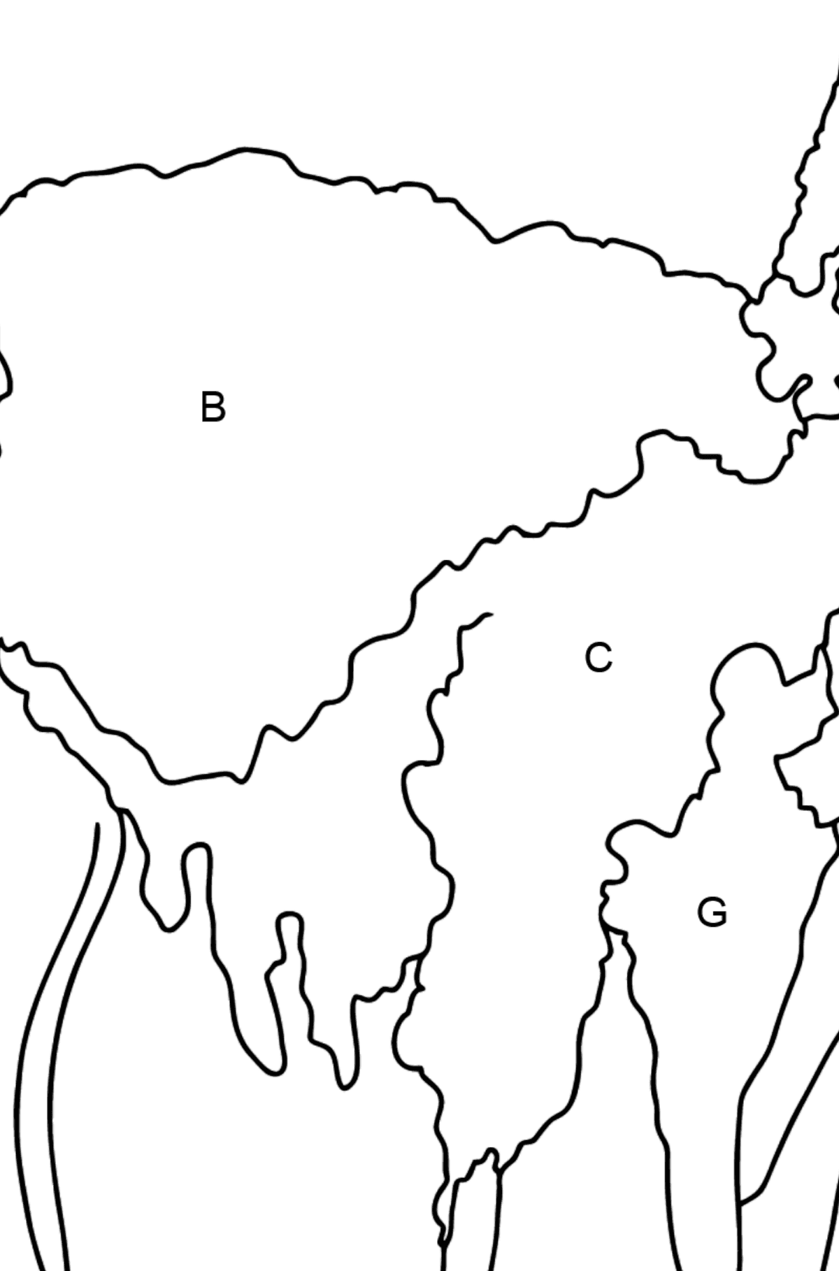 Coloring Page - A Lama is Inspecting the Area - Coloring by Letters for Kids