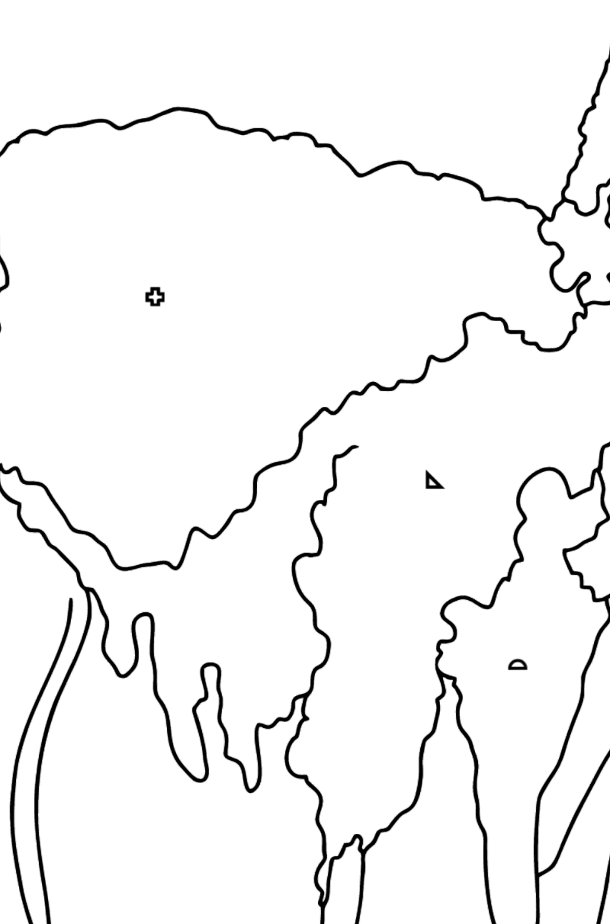 Coloring Page - A Lama is Inspecting the Area - Coloring by Geometric Shapes for Kids