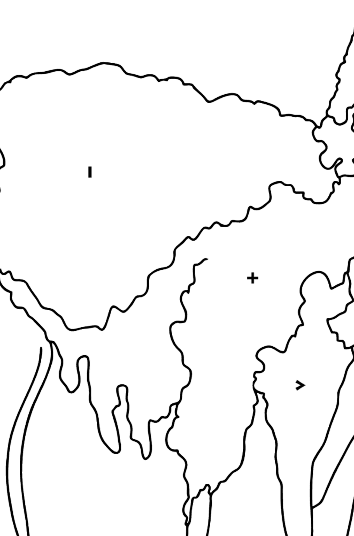 Coloring Page - A Lama is Inspecting the Area - Coloring by Symbols and Geometric Shapes for Kids