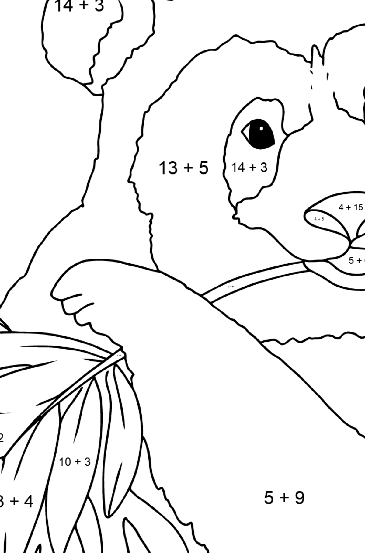 Coloring Page - A Panda is Eating Bamboo Leaves - Math Coloring - Addition for Children