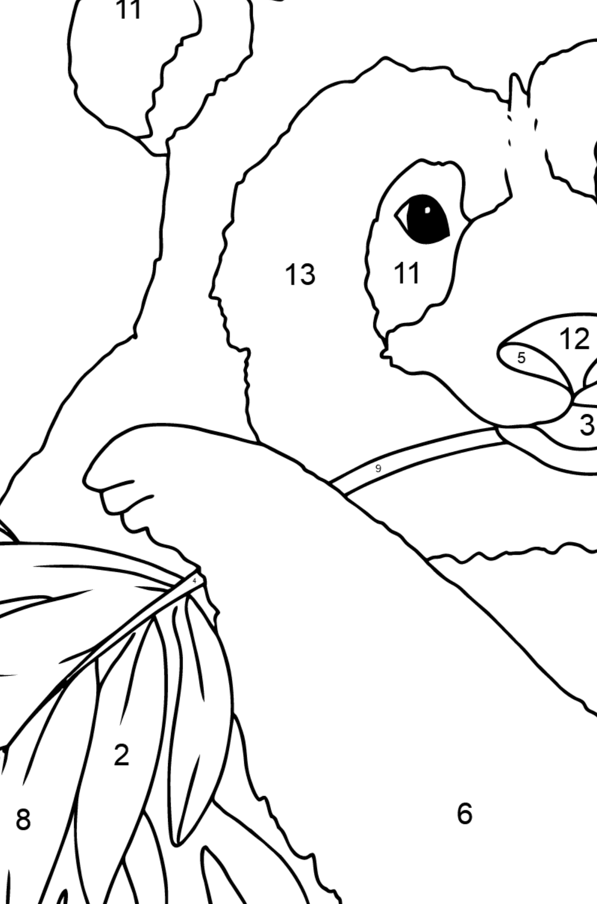 Coloring Page - A Panda is Eating Bamboo Leaves - Coloring by Numbers for Kids