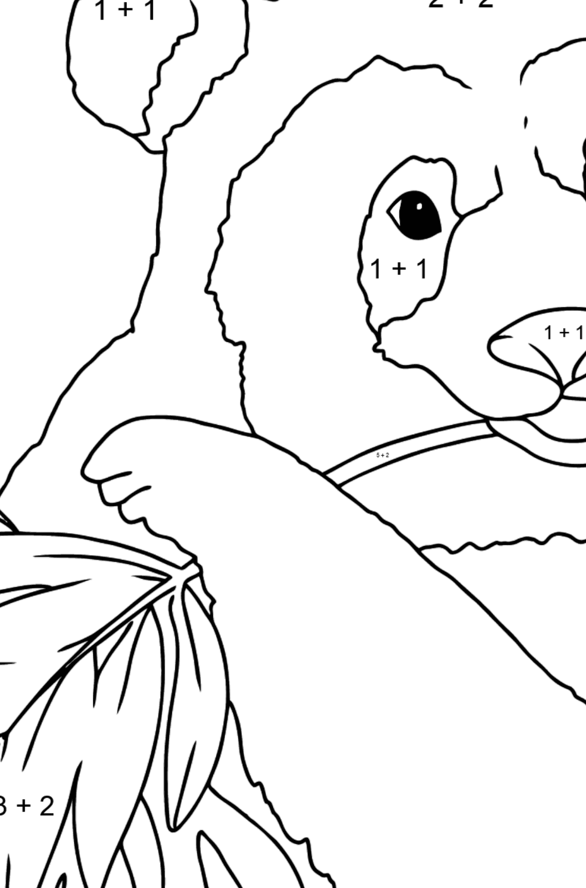Coloring Page  - A Panda is Eating Leaves - Math Coloring - Addition for Kids