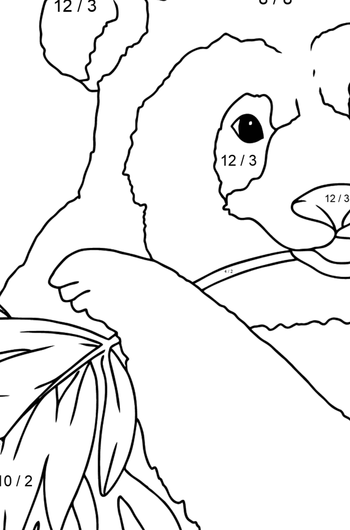 Coloring Page  - A Panda is Eating Leaves - Math Coloring - Division for Kids