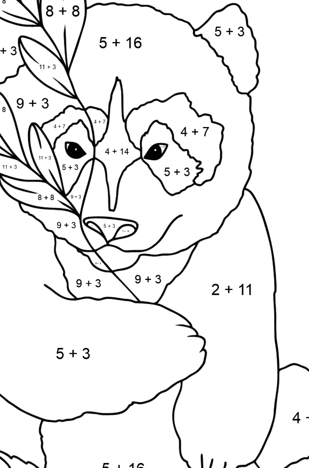 Coloring Page - A Panda is Having a Rest - Math Coloring - Addition for Kids