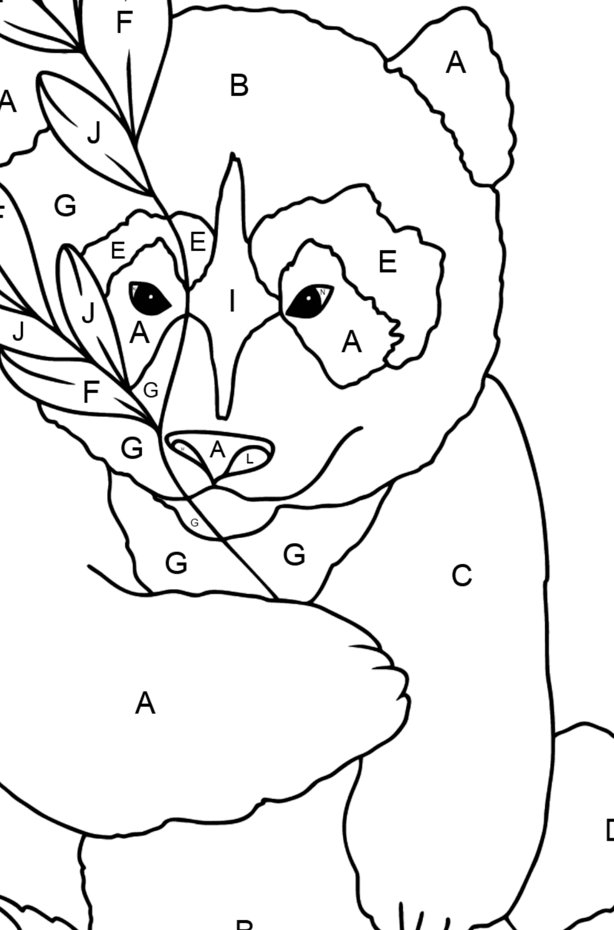 Coloring Page - A Panda is Having a Rest - Coloring by Letters for Kids