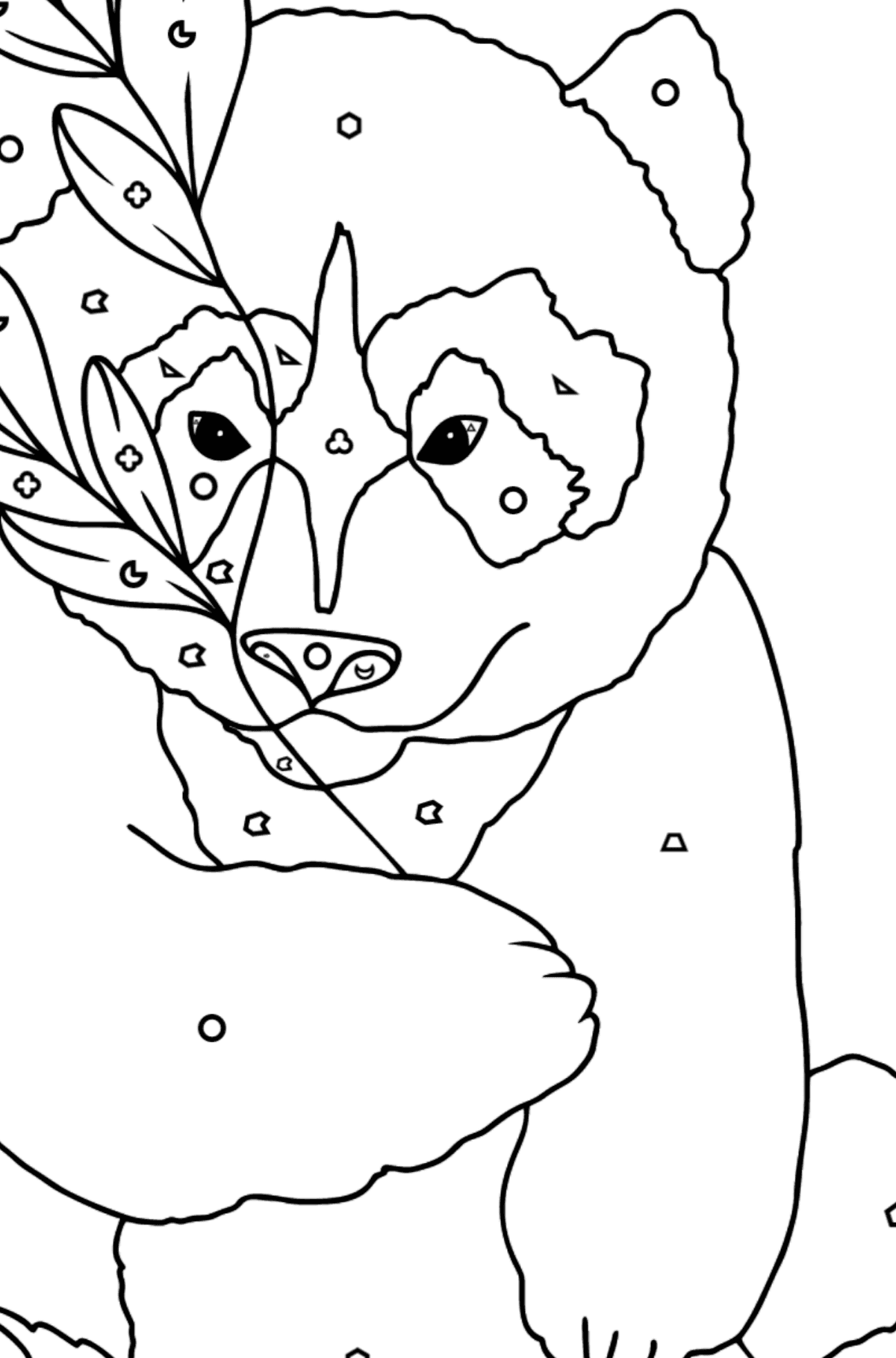 Coloring Page - A Panda is Having a Rest - Coloring by Geometric Shapes for Kids