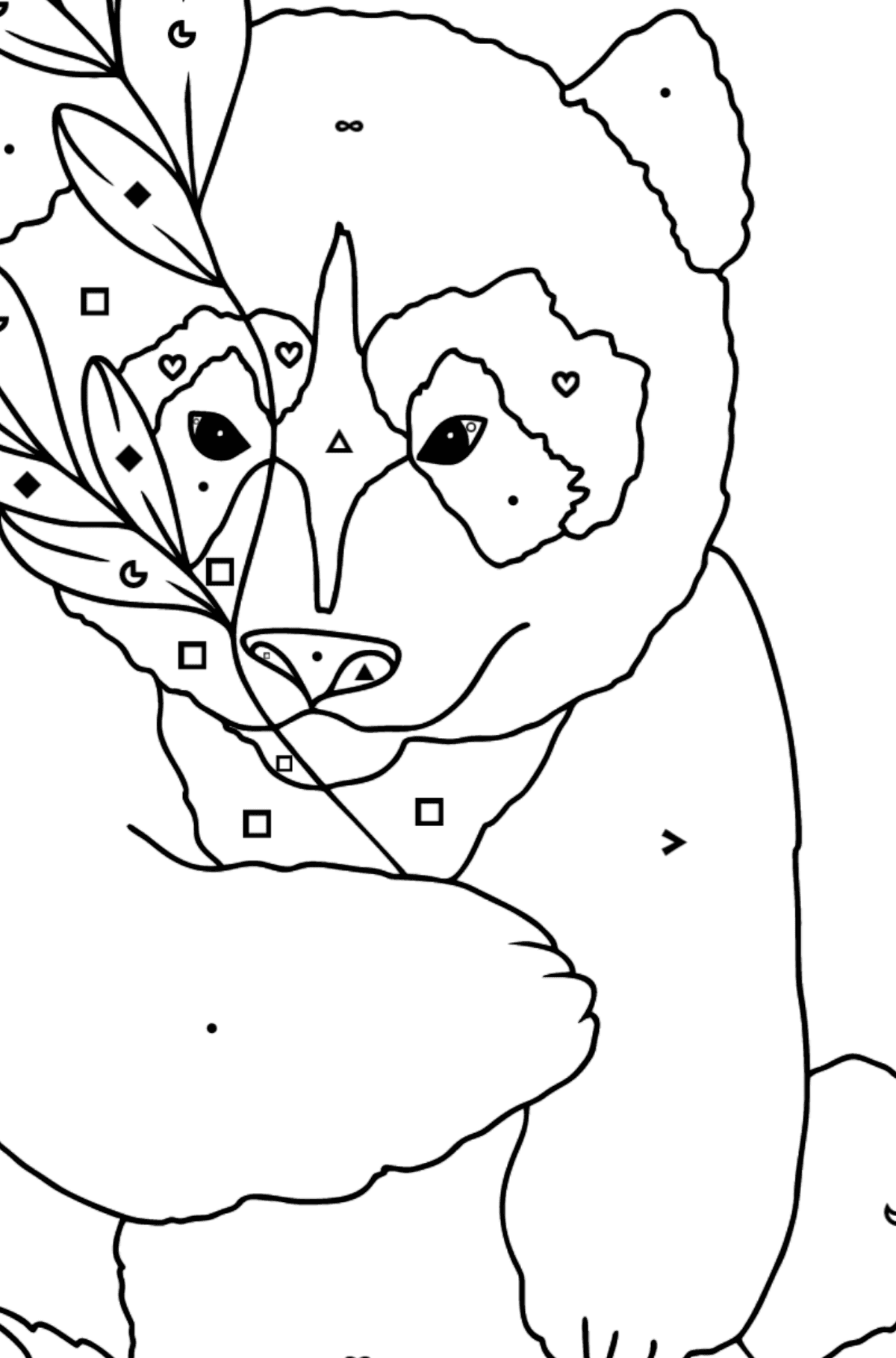 Coloring Page - A Panda is Having a Rest - Coloring by Symbols and Geometric Shapes for Kids