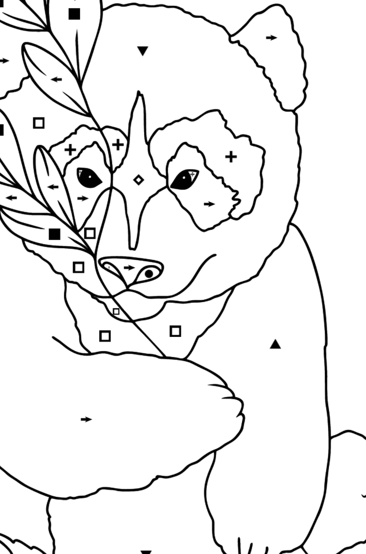 Coloring Page - A Panda is Having a Rest - Coloring by Symbols for Kids