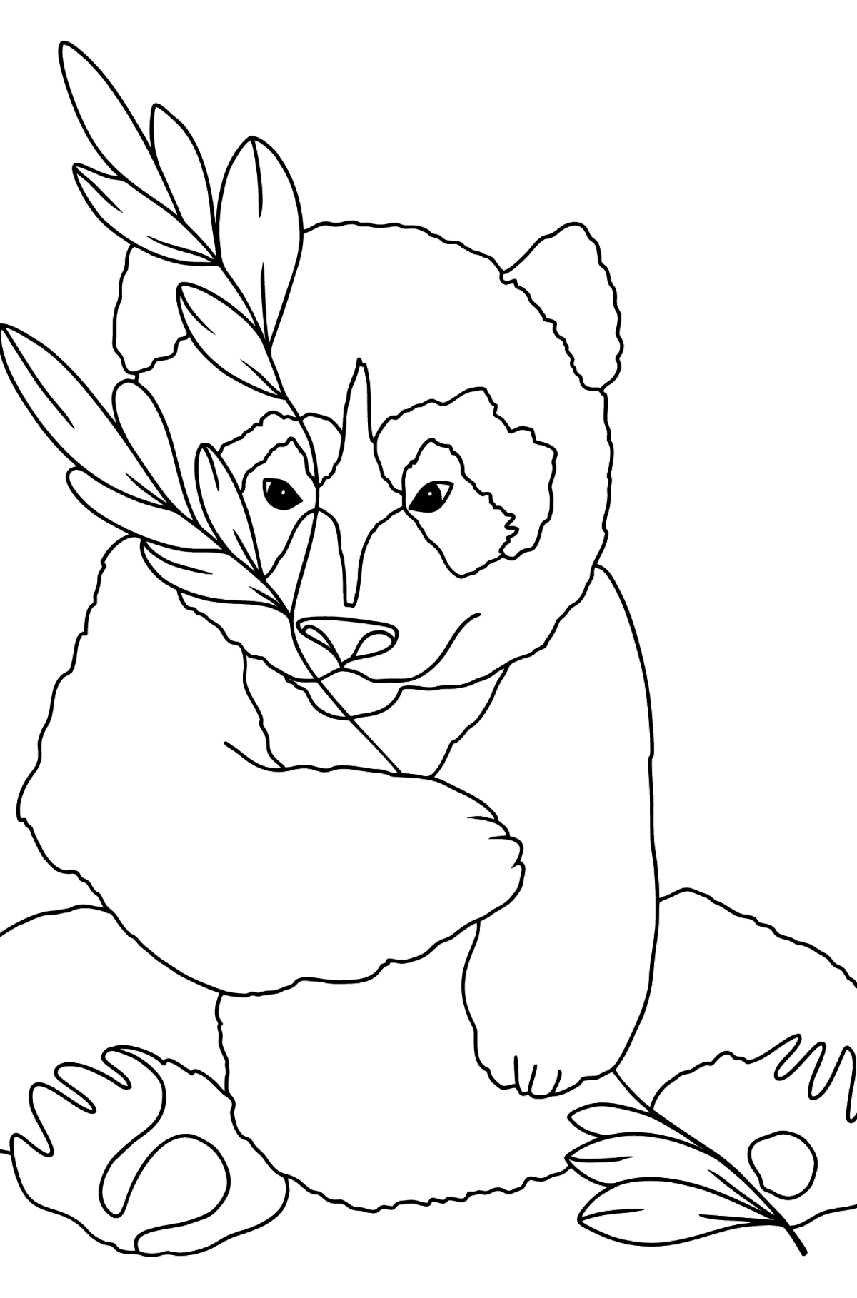 Coloring Page - A Panda is Having a Rest - Coloring Pages for Kids