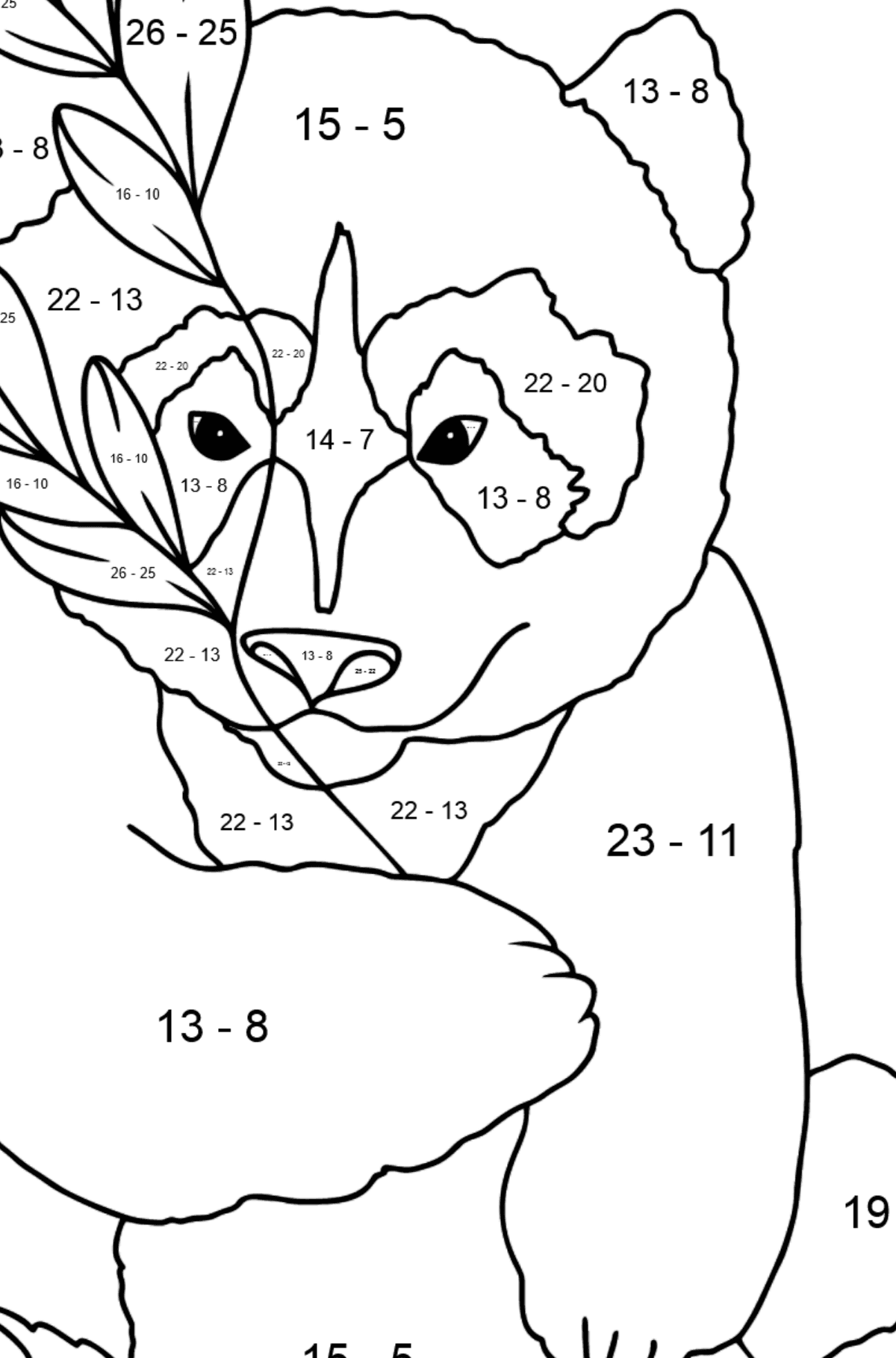 Coloring Page - A Panda is Having a Rest - Math Coloring - Subtraction for Kids