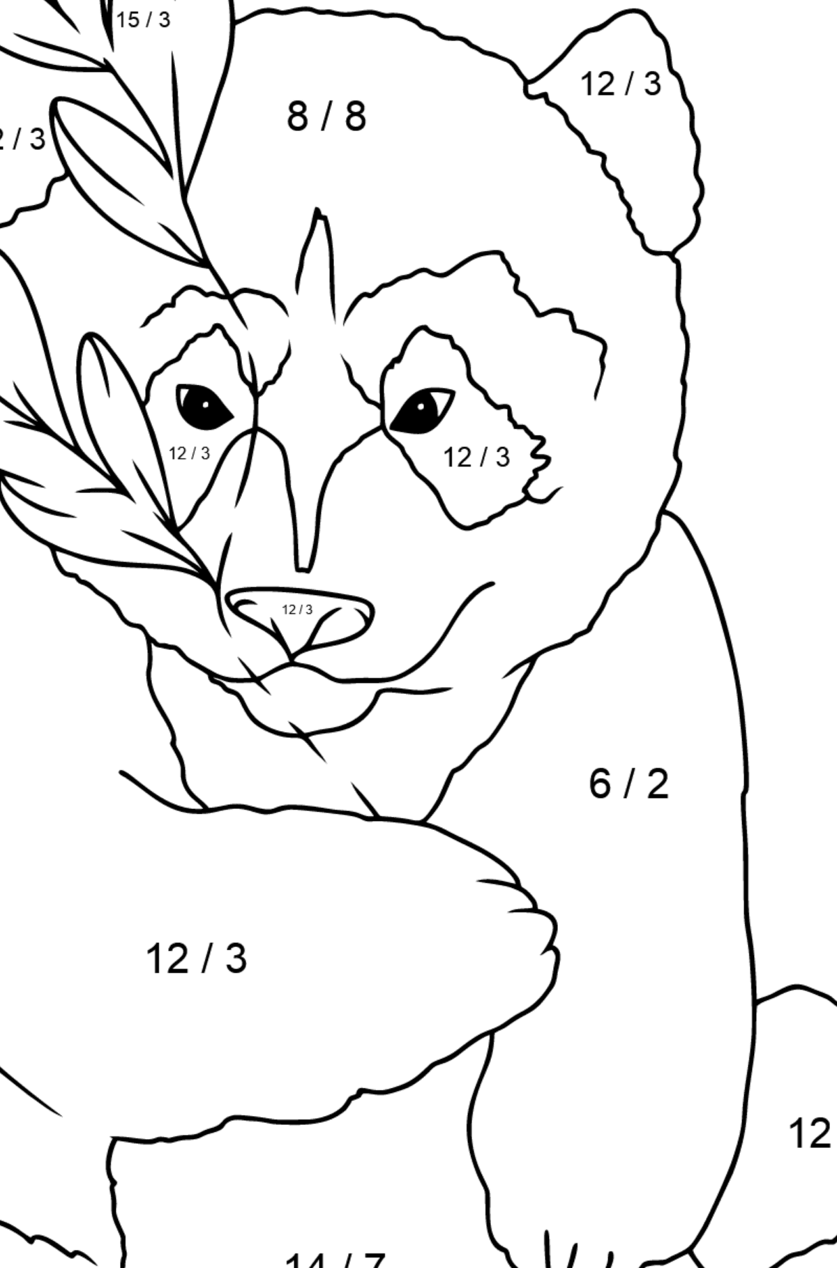 Coloring Page - A Panda is Hugging Bamboo Leaves - Math Coloring - Division for Children