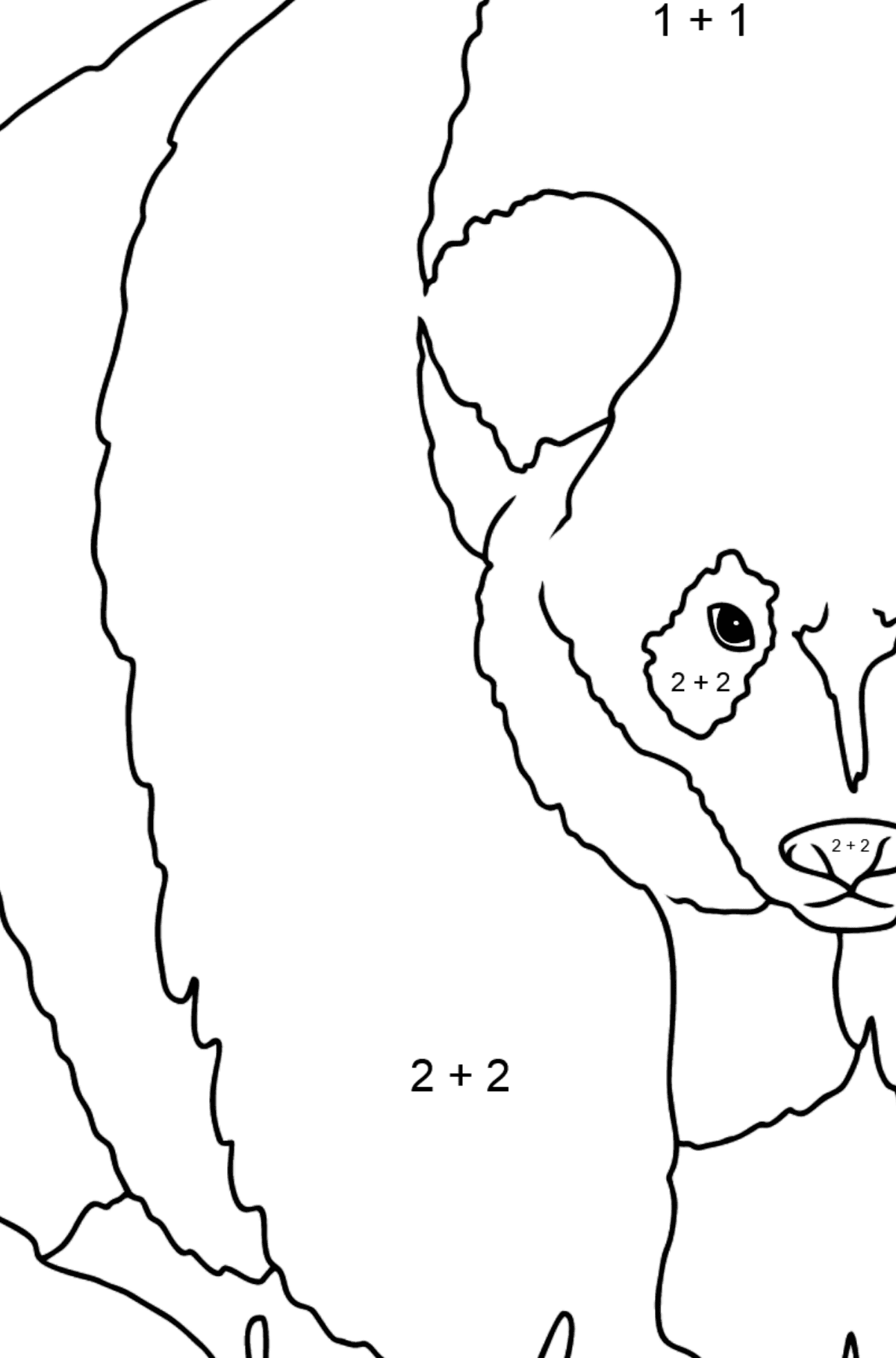 Coloring Page - A Panda is Standing - Math Coloring - Addition for Kids