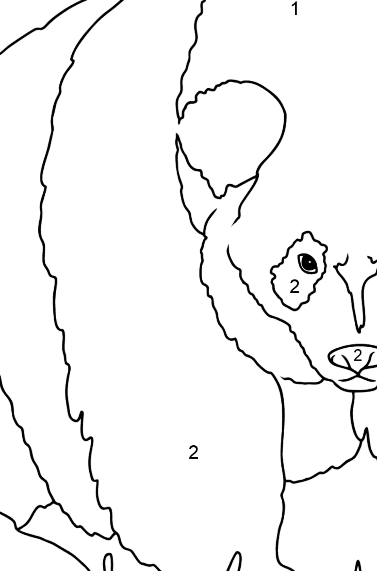 Coloring Page - A Panda is Standing - Coloring by Numbers for Kids
