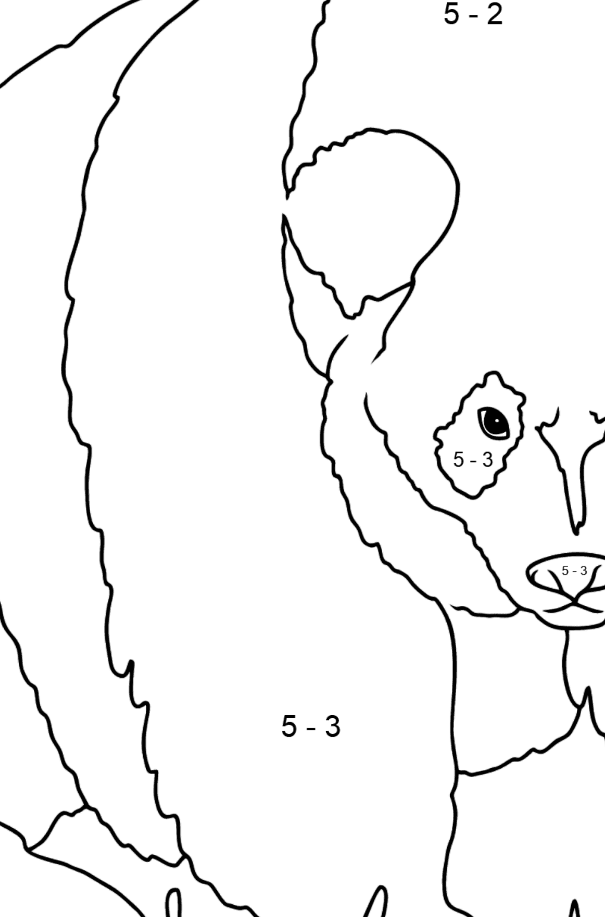 Coloring Page - A Panda is Standing - Math Coloring - Subtraction for Kids