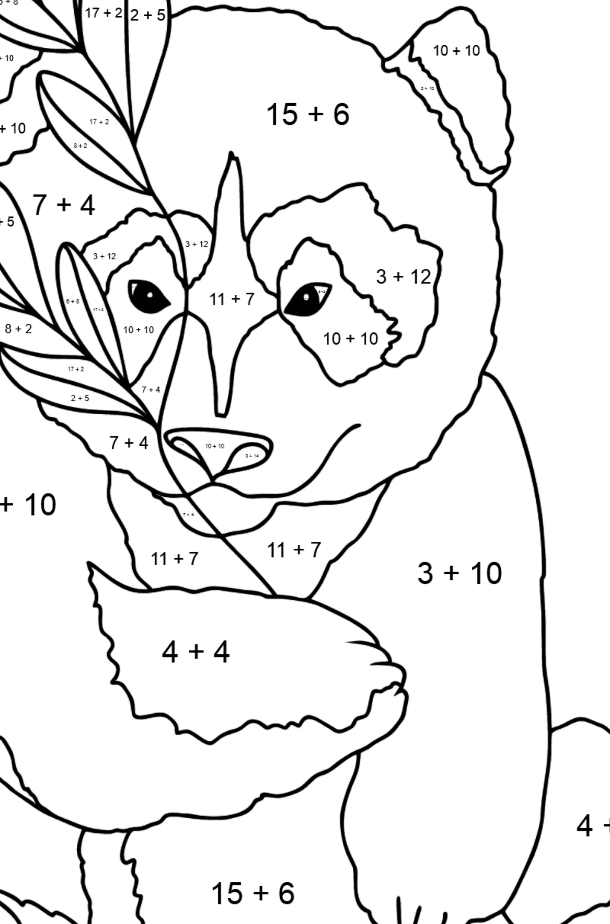 Coloring Page - A Panda Loves Bamboo Leaves - Math Coloring - Addition for Kids