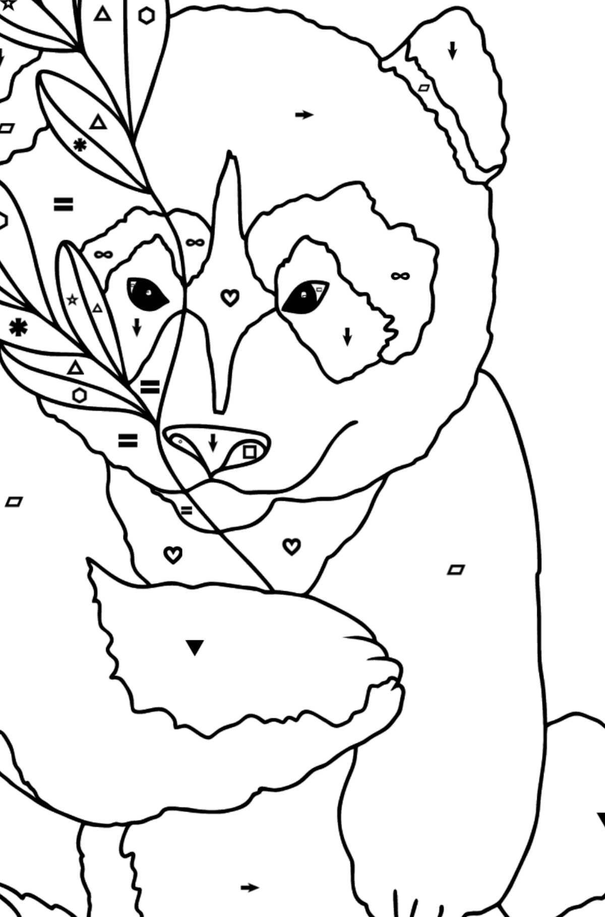 Coloring Page - A Panda Loves Bamboo Leaves - Coloring by Symbols and Geometric Shapes for Kids
