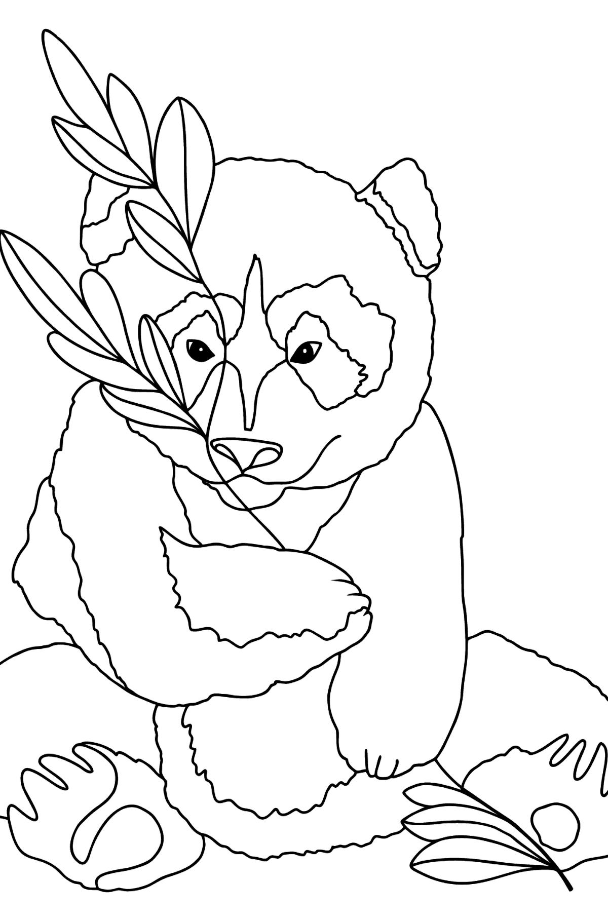 Раскраска панда любит листья бамбука - Картинки для Детей