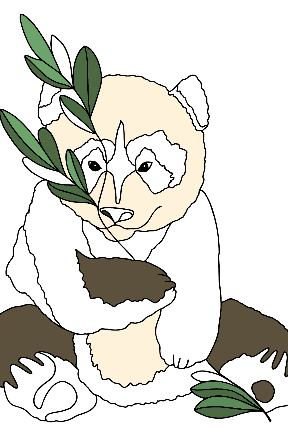 Coloring Page - A Panda Loves Bamboo Leaves - Coloring Pages for Kids