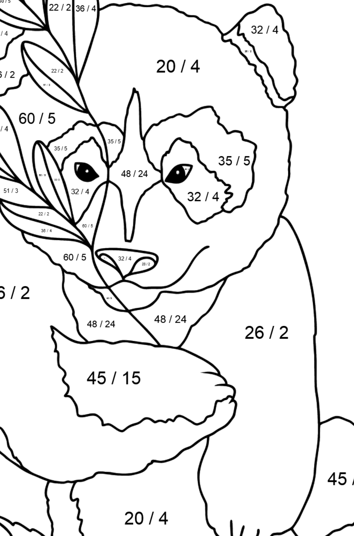 Coloring Page - A Panda Loves Bamboo Leaves - Math Coloring - Division for Kids