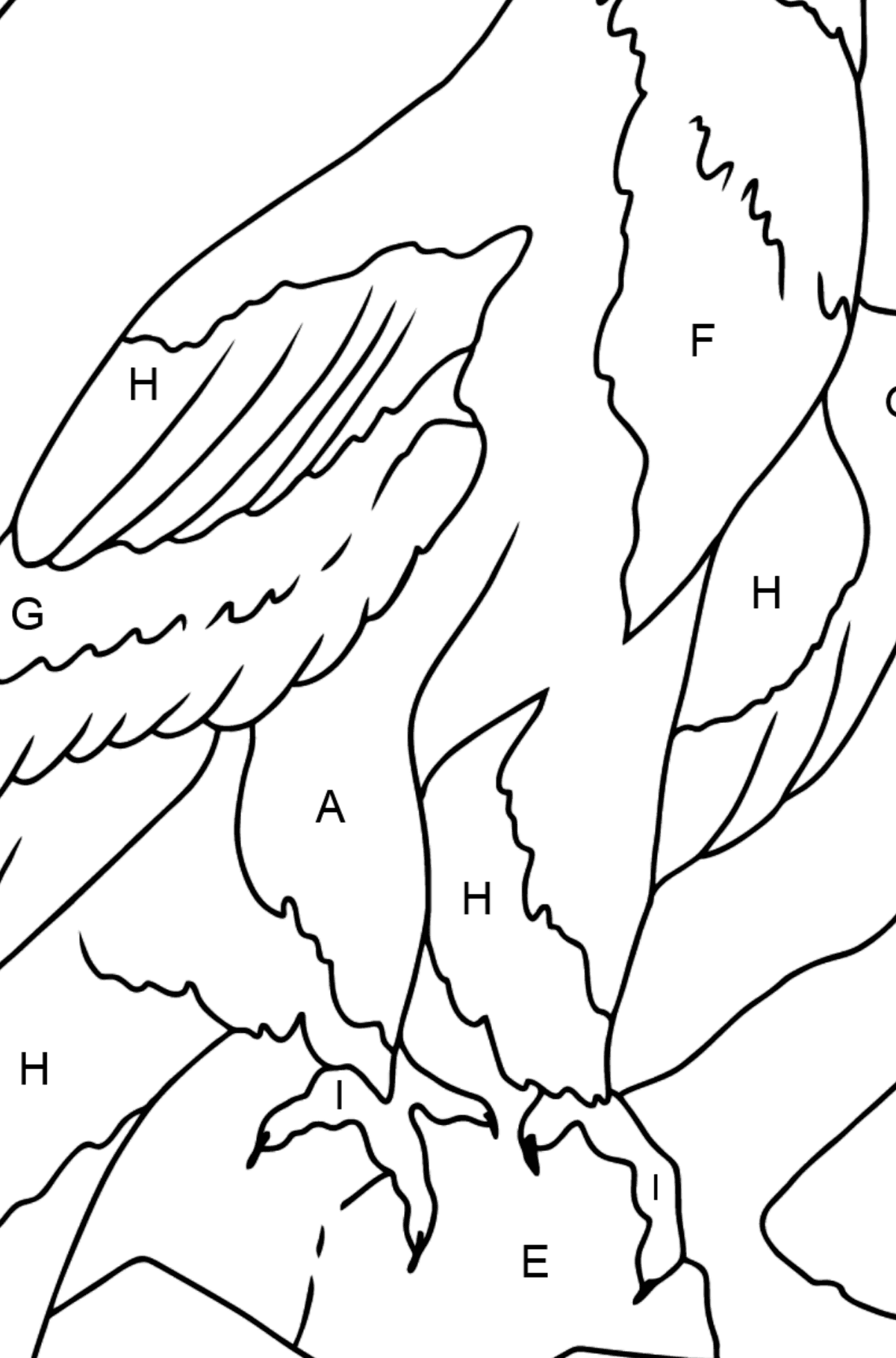 Coloring Page - An Alpine Eagle - Coloring by Letters for Kids