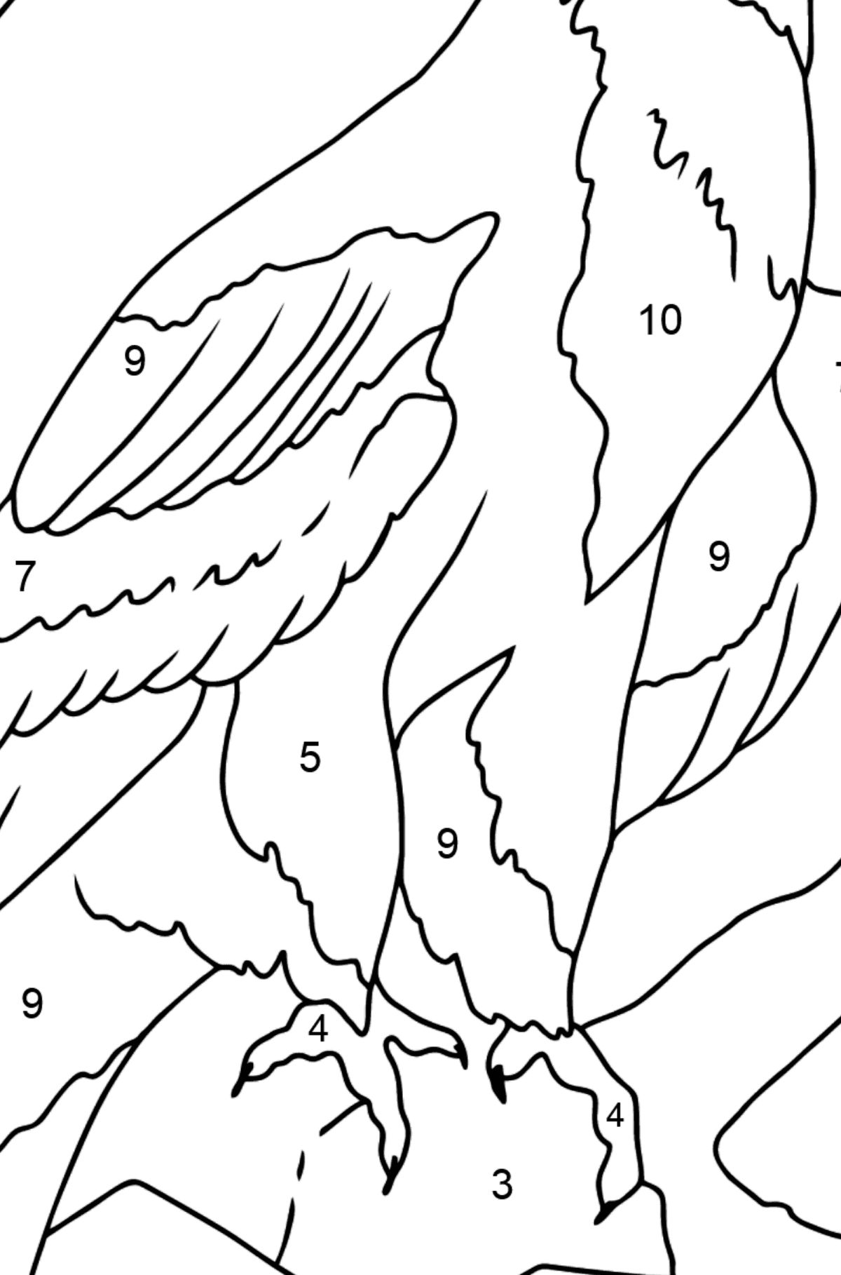 Coloring Page - An Alpine Eagle - Coloring by Numbers for Kids