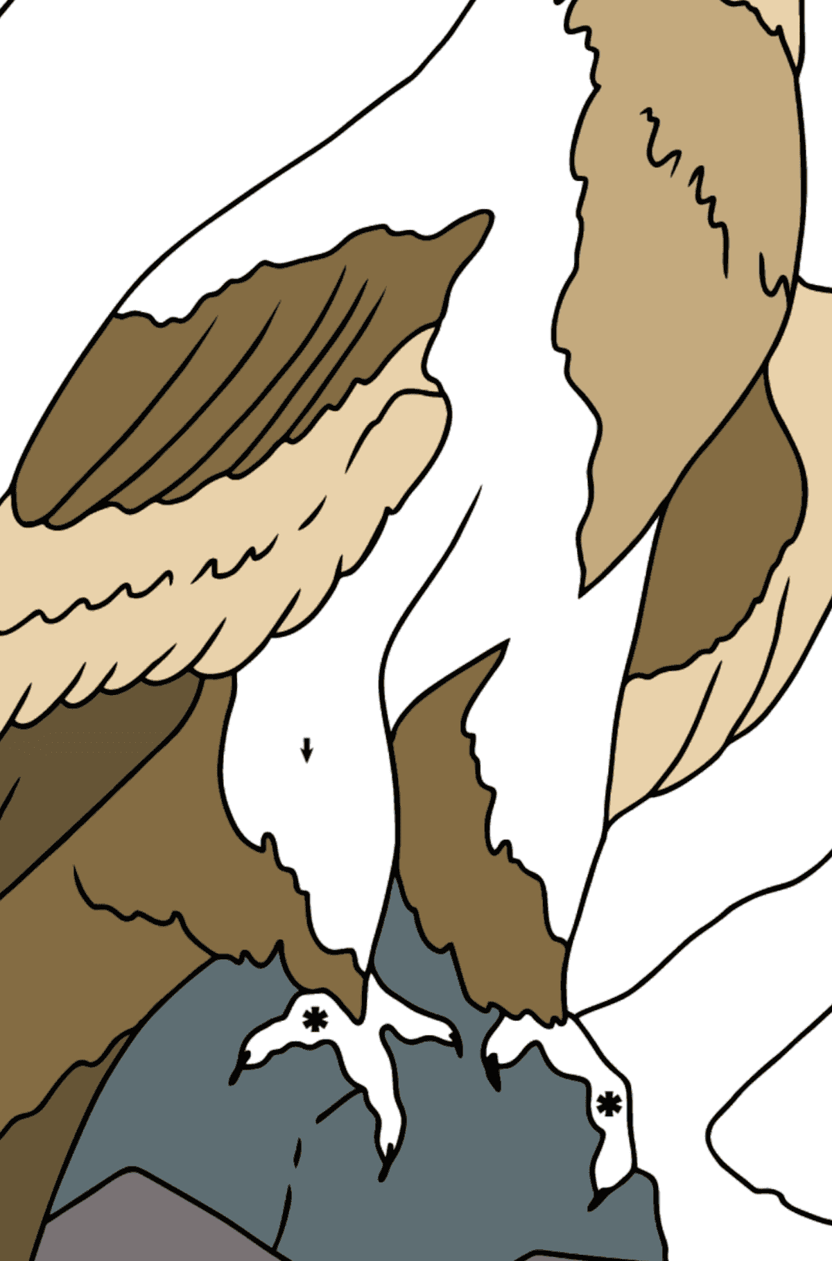 Coloring Page - An Alpine Eagle - Coloring by Symbols for Kids