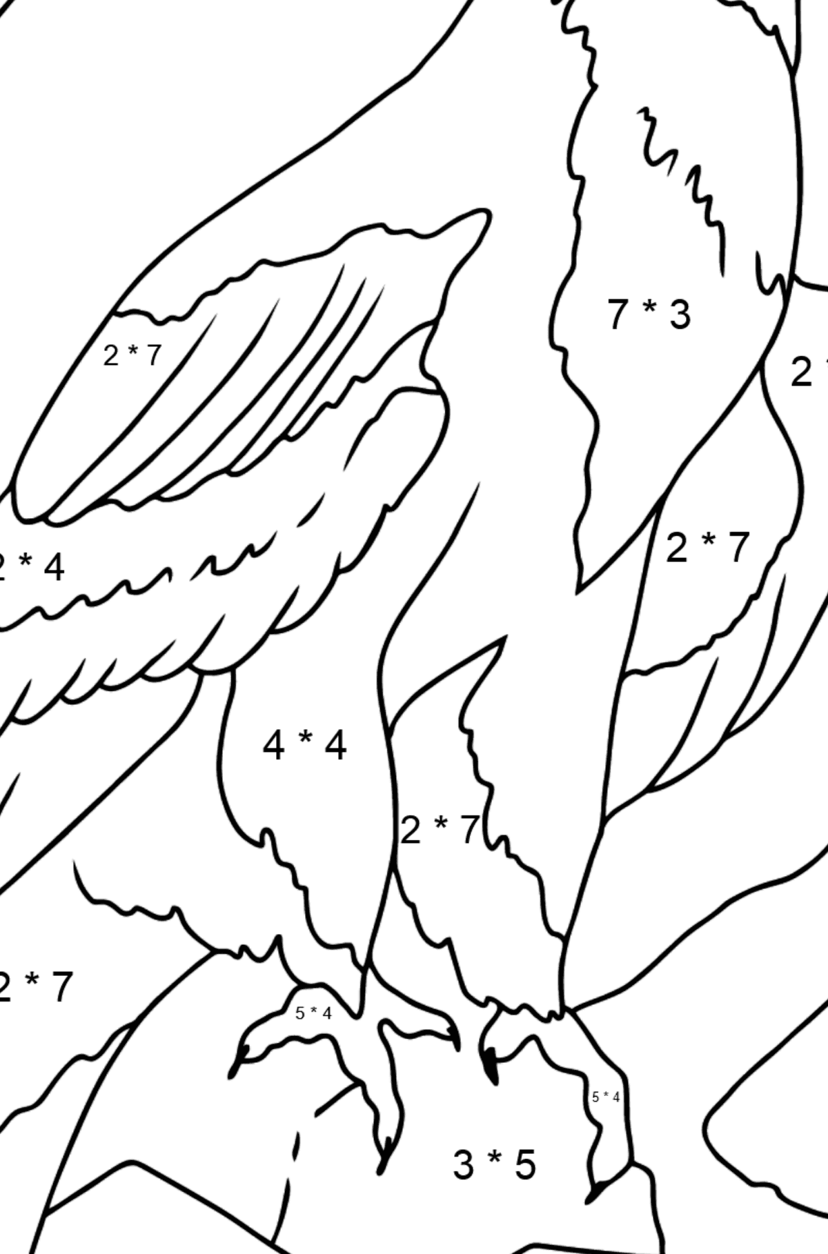 Coloring Page - An Alpine Eagle - Math Coloring - Multiplication for Kids