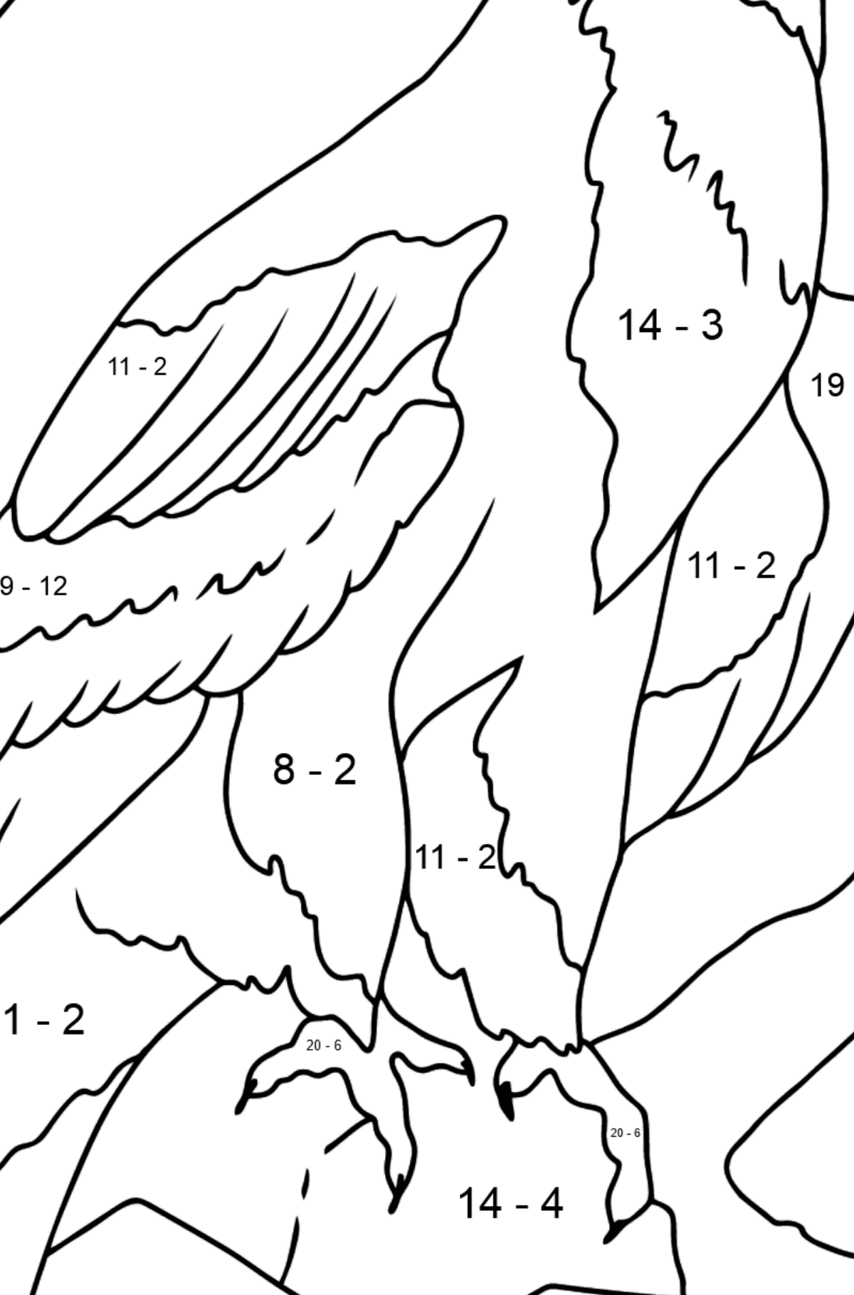 Coloring Page - An Alpine Eagle - Math Coloring - Subtraction for Kids
