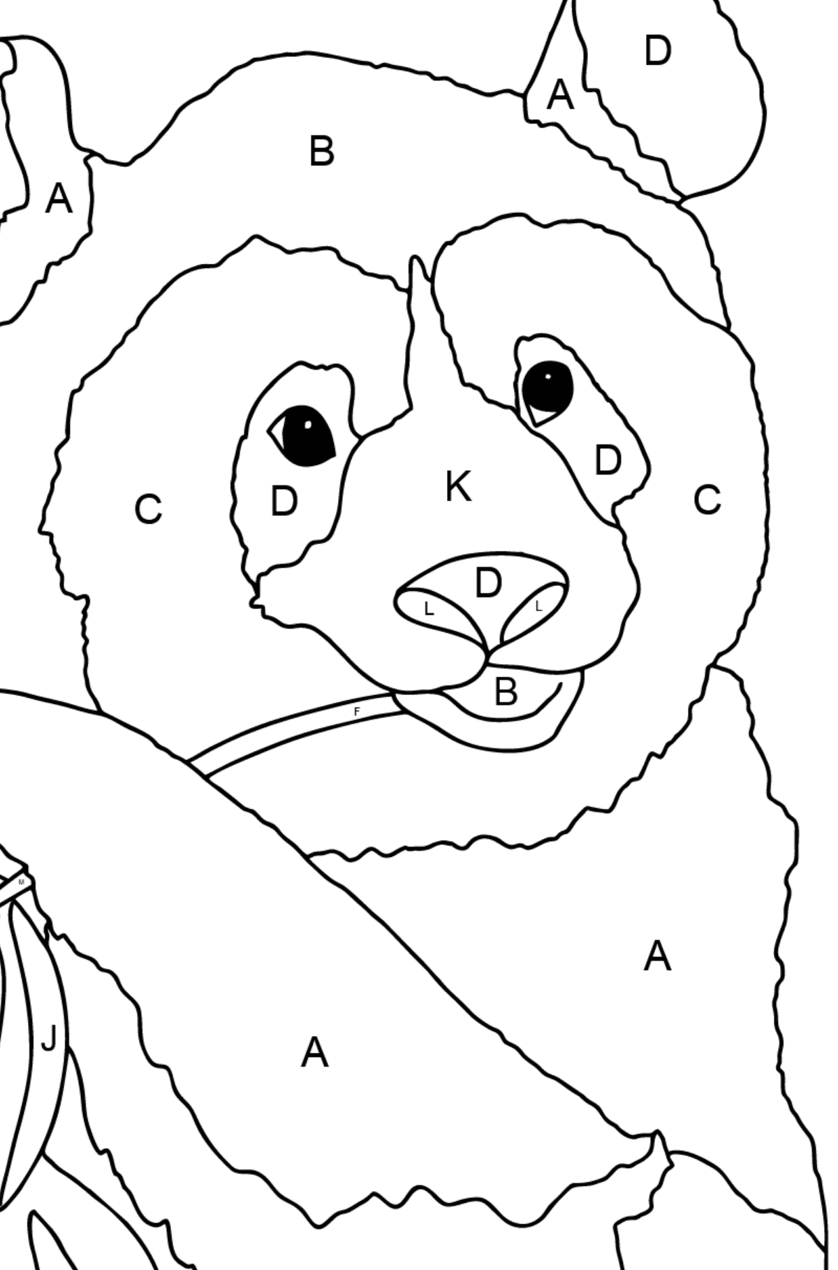 Coloring Page - A Panda is Eating Bamboo Stems and Leaves - Coloring by Letters for Children