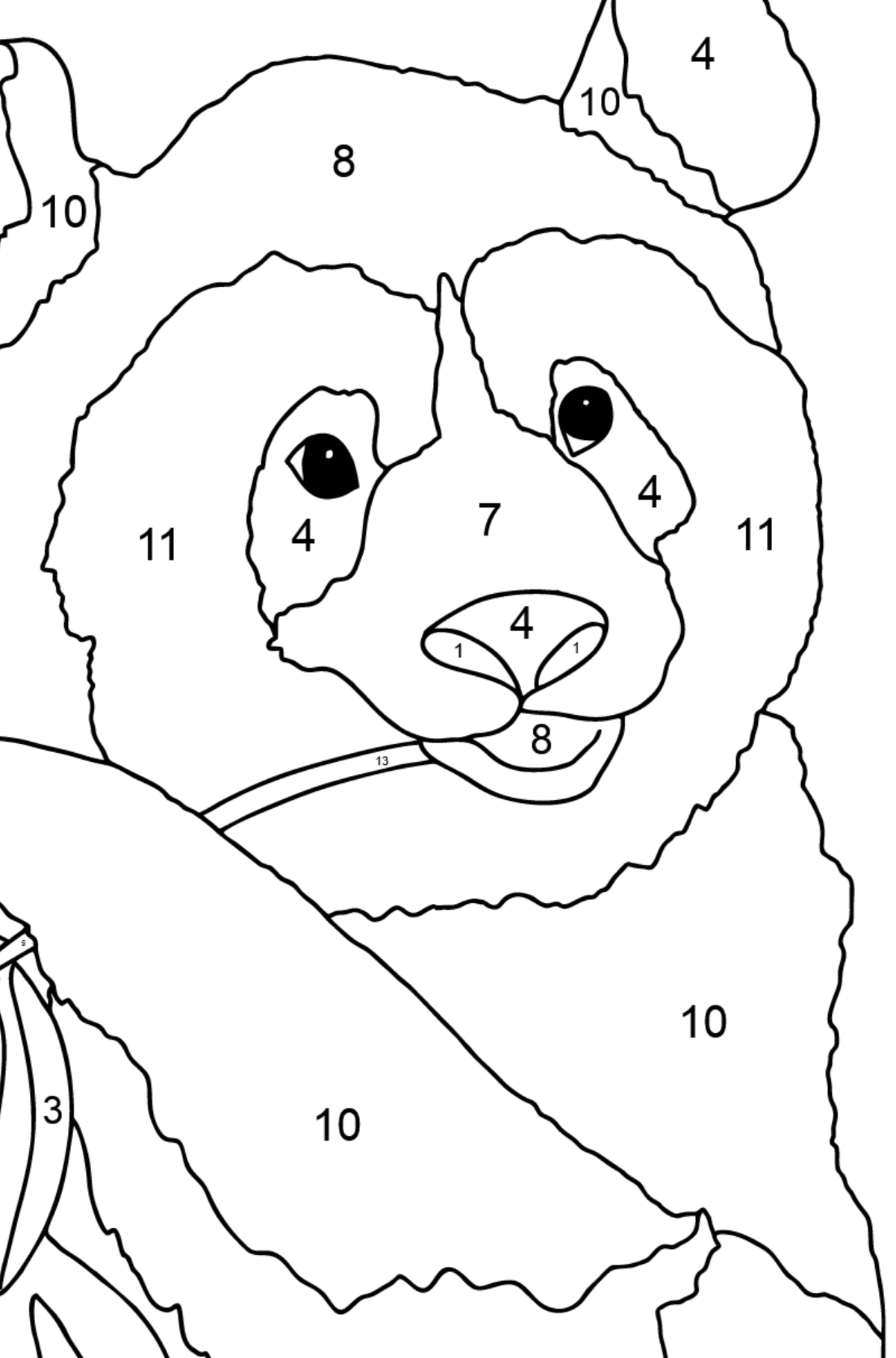 Coloring Page - A Panda is Eating Bamboo Stems and Leaves - Coloring by Numbers for Children