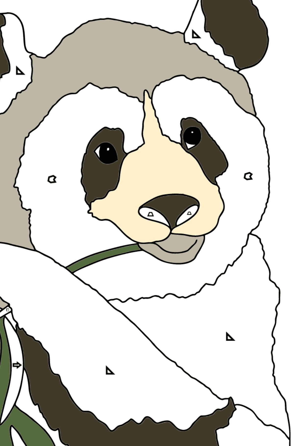 Coloring Page - A Panda is Eating Bamboo Stems and Leaves - Coloring by Geometric Shapes for Kids