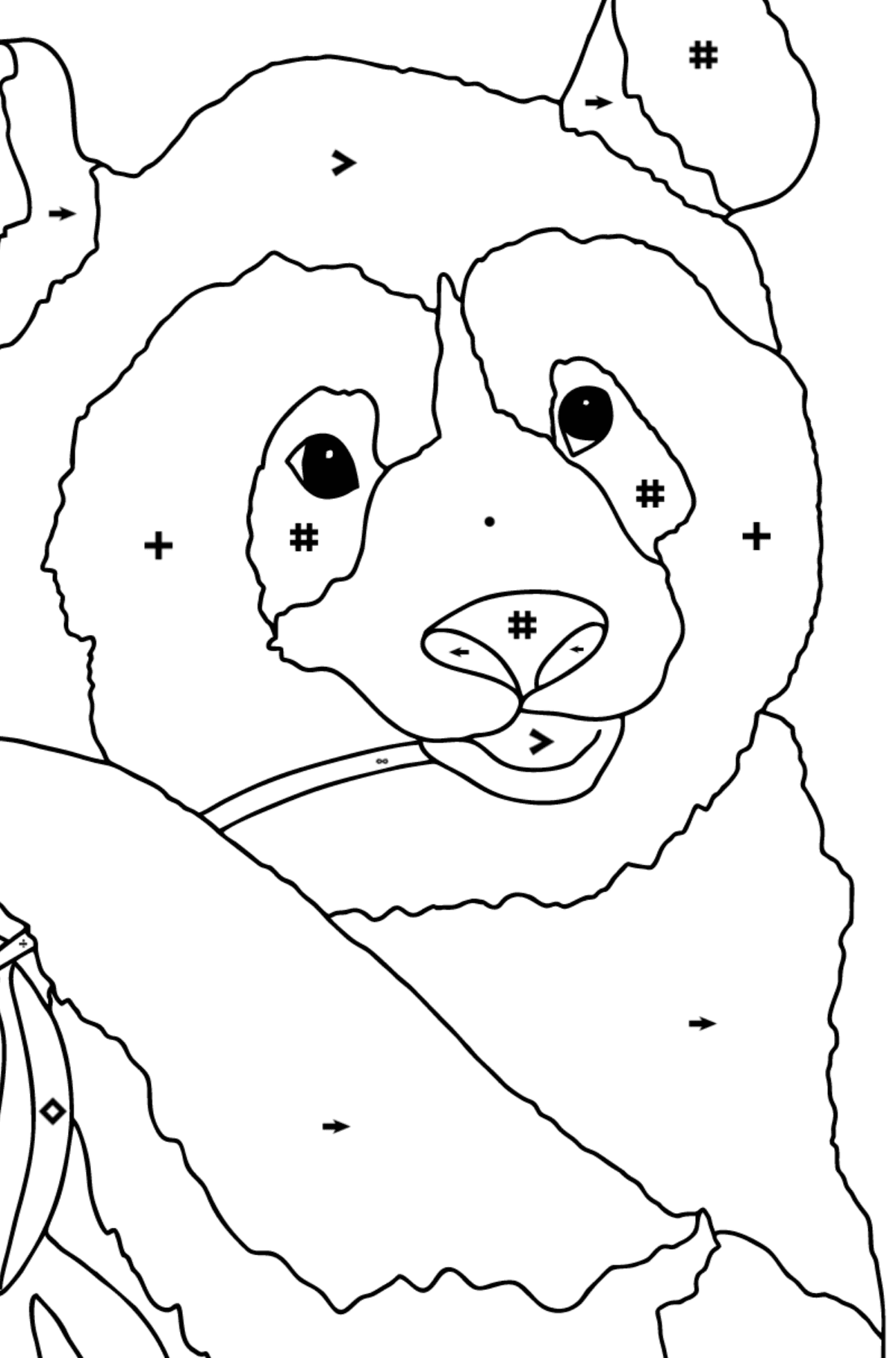 Coloring Page - A Panda is Eating Bamboo Stems and Leaves - Coloring by Symbols for Children