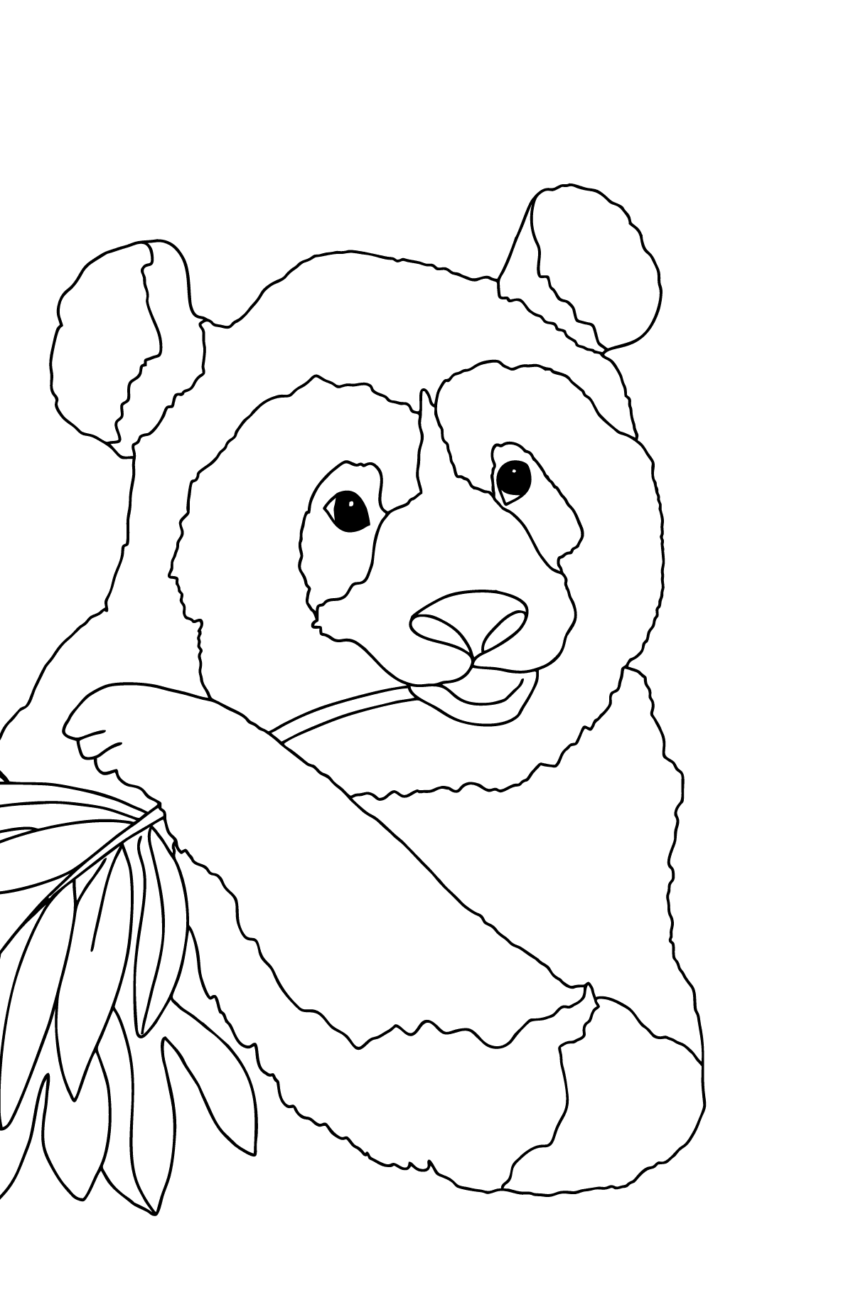 Coloring Page - A Panda is Eating Bamboo Stems and Leaves - Coloring Pages for Children