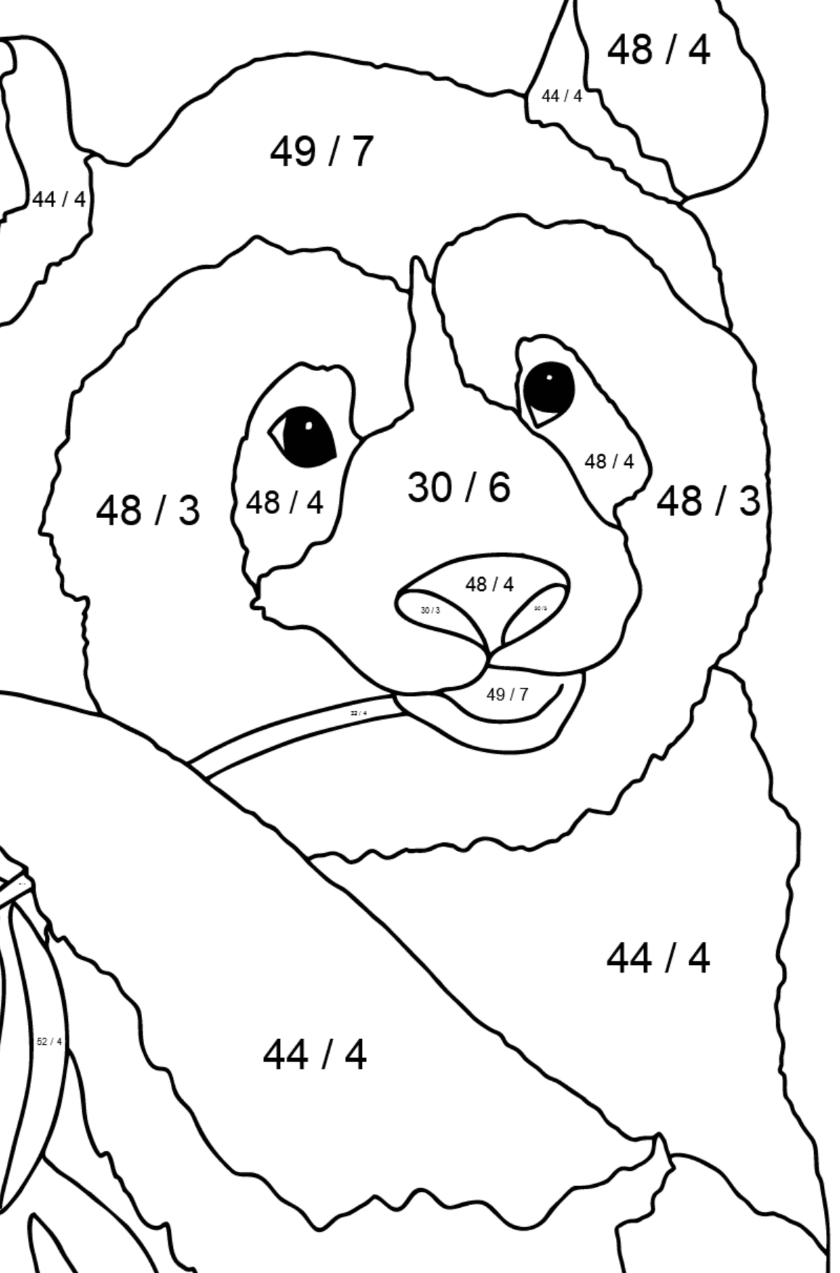 Coloring Page - A Panda is Eating Bamboo Stems and Leaves - Math Coloring - Division for Children