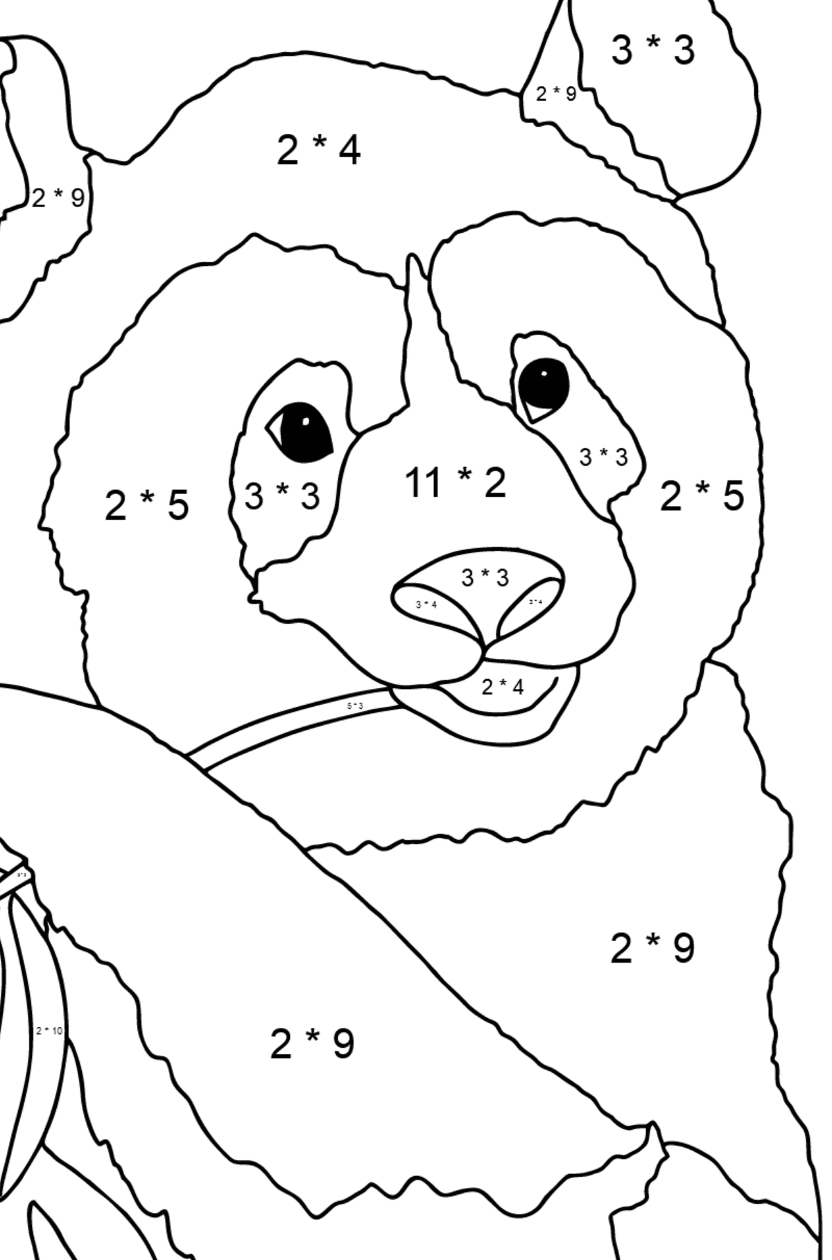 Coloring Page - A Panda is Eating Bamboo Stems and Leaves - Math Coloring - Multiplication for Children