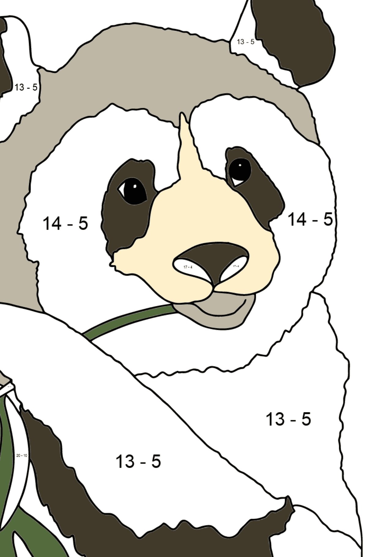 Coloring Page - A Panda is Eating Bamboo Stems and Leaves - Math Coloring - Subtraction for Kids