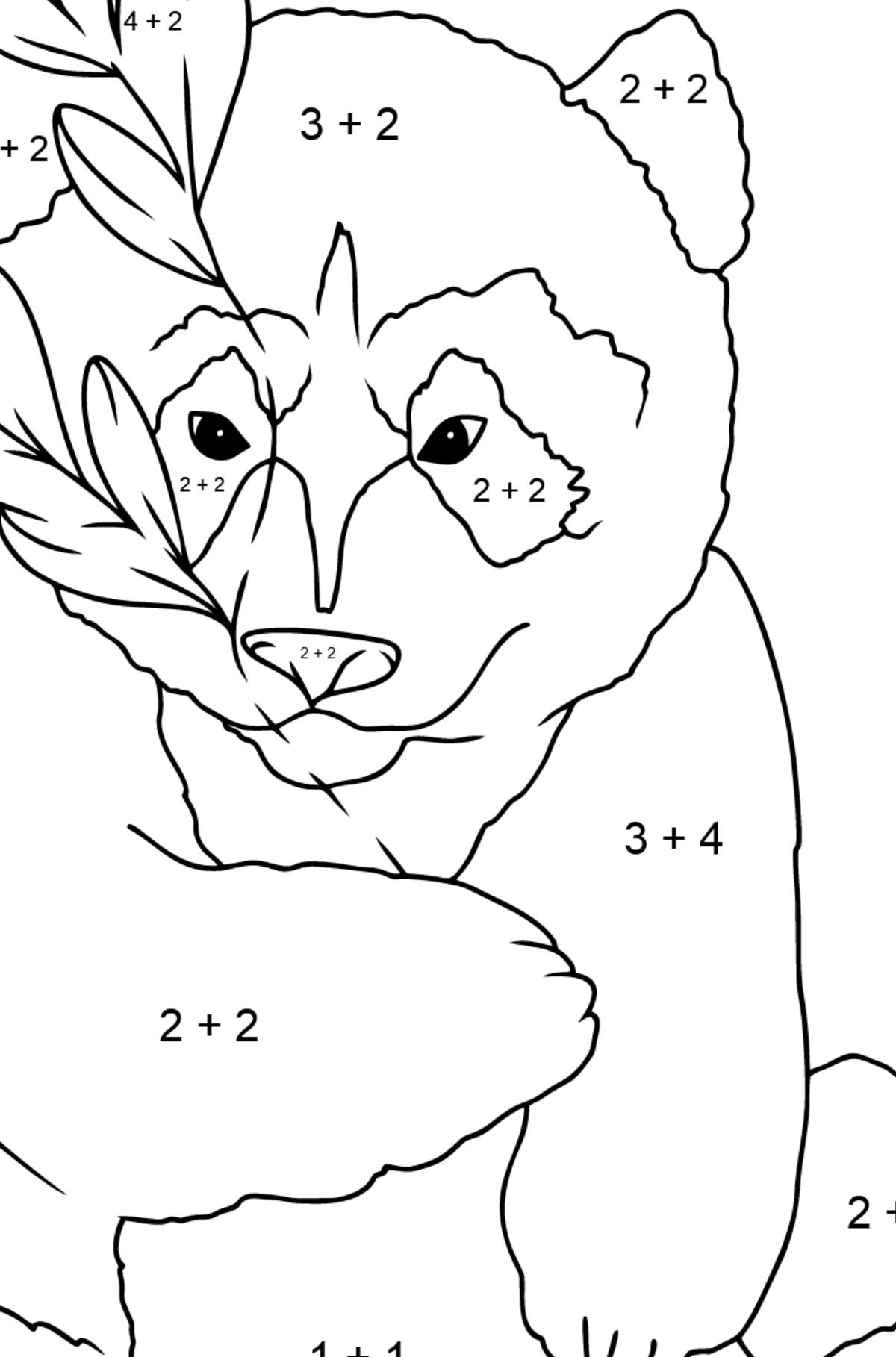 Coloring Page - A Panda is Hugging Bamboo Leaves - Math Coloring - Addition for Kids