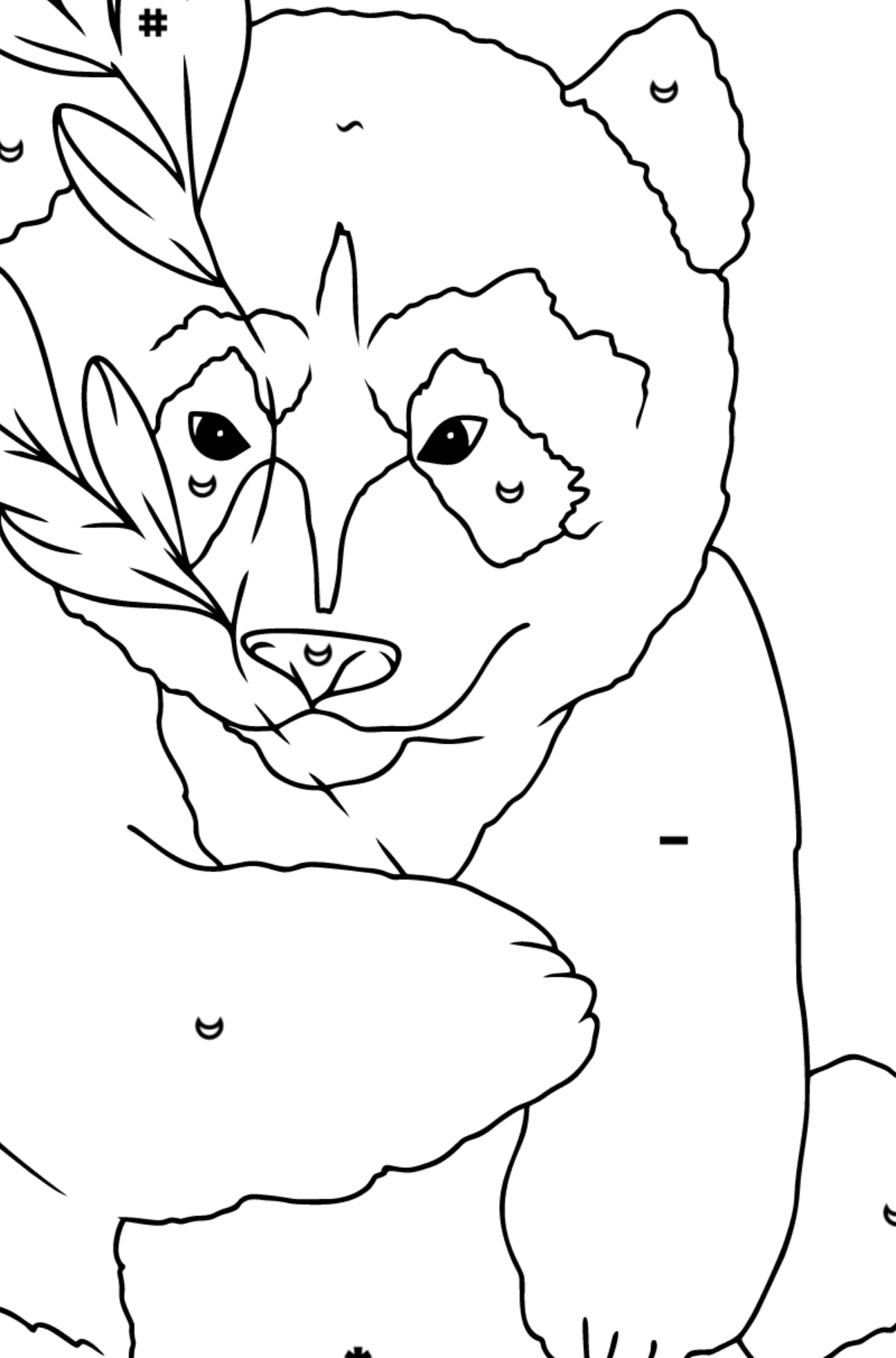 Coloring Page - A Panda is Hugging Bamboo Leaves - Coloring by Symbols for Children