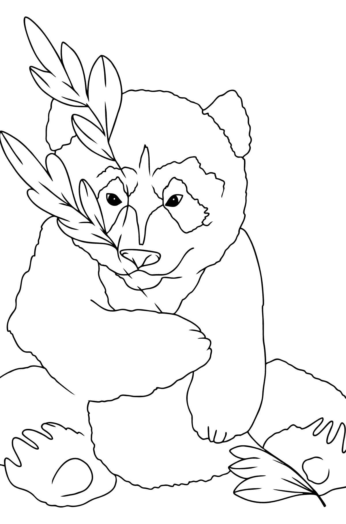 Coloring Page - A Panda is Hugging Bamboo Leaves - Coloring Pages for Kids