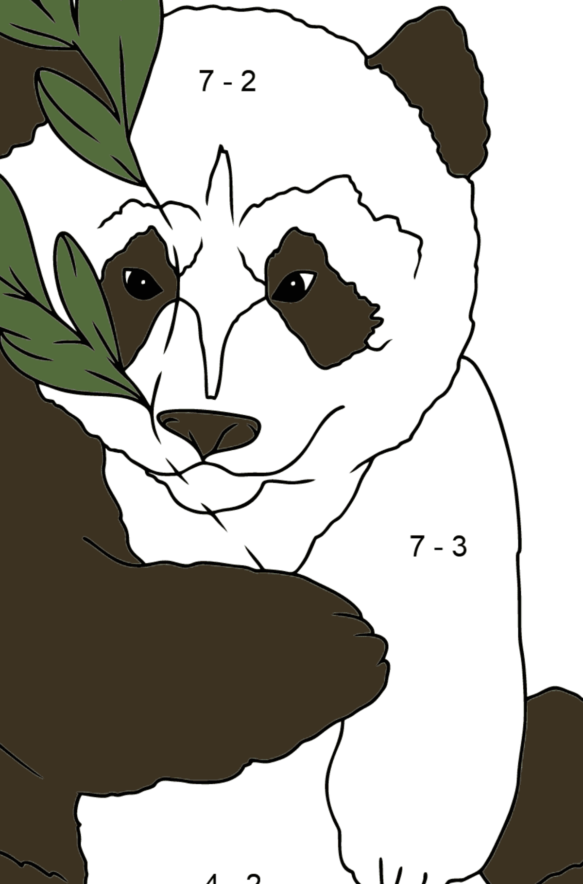 Coloring Page - A Panda is Hugging Bamboo Leaves - Math Coloring - Subtraction for Children