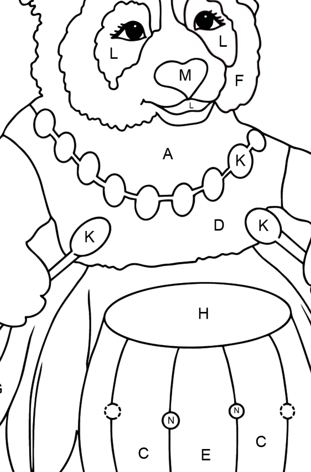 Coloring Page - A Panda and a Drum - Coloring by Letters for Kids